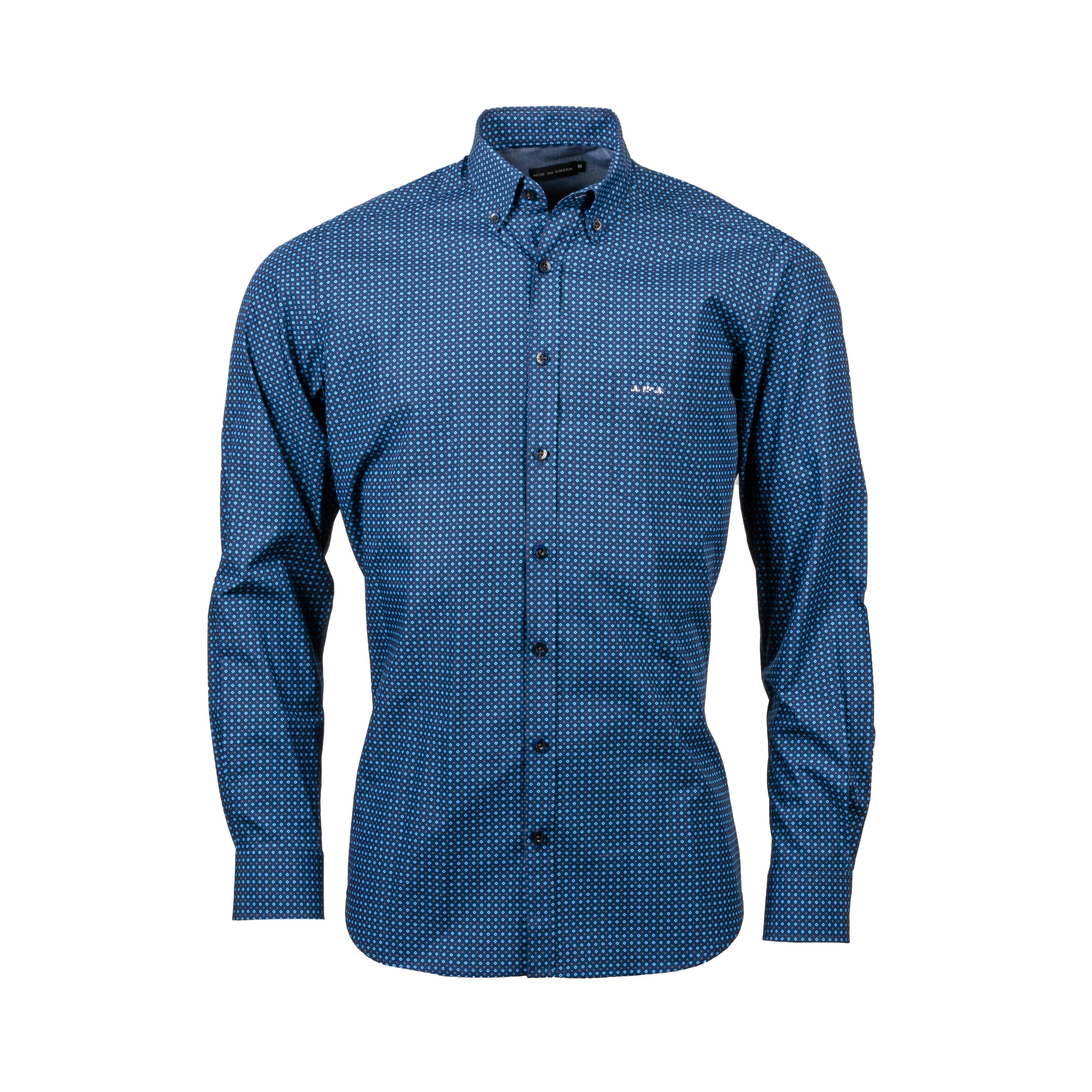 Chemise ajustée Mise au green en coton bleu marine à micro motifs bleu ciel et marron