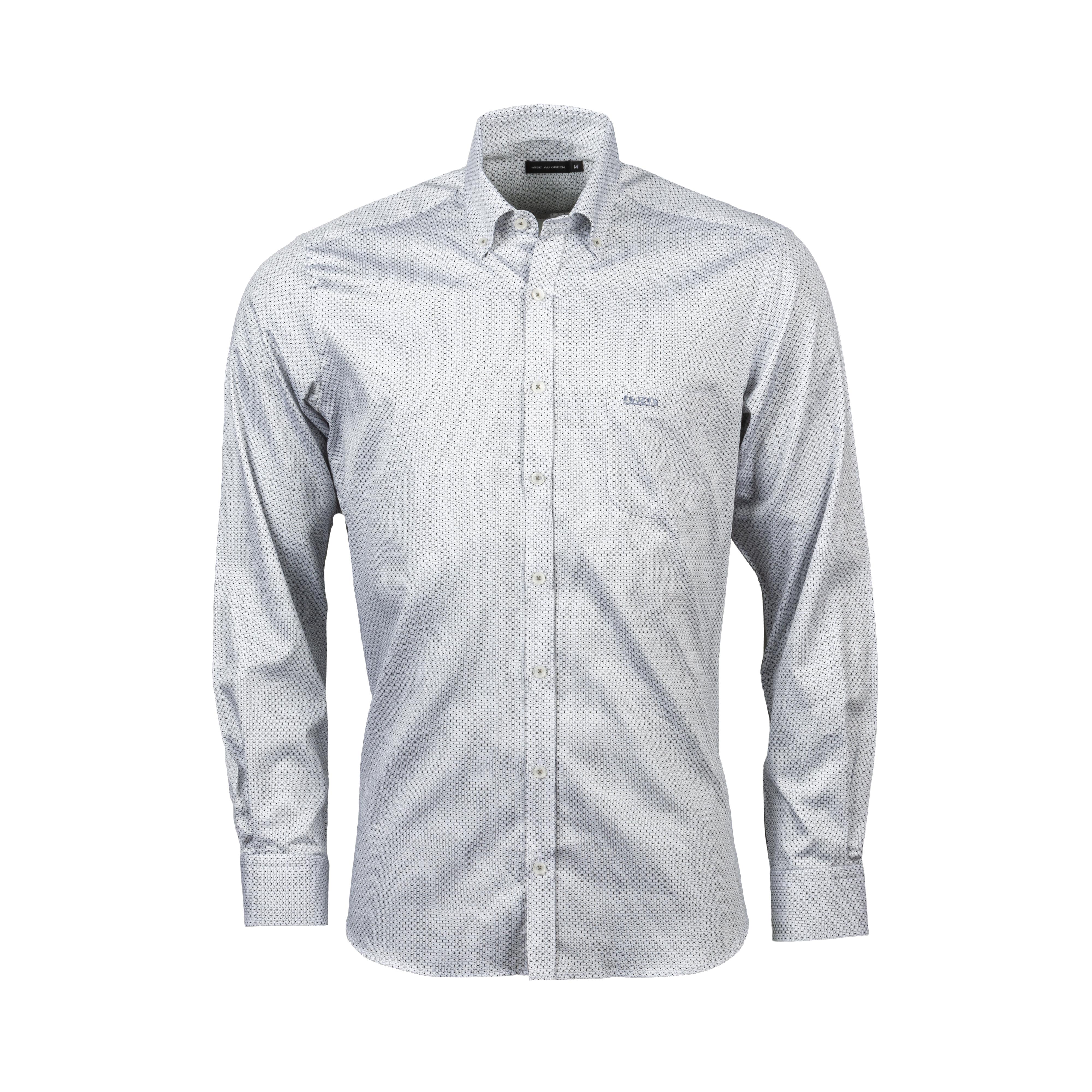Chemise ajustée Mise au green en coton blanc à micro motifs gris et noirs