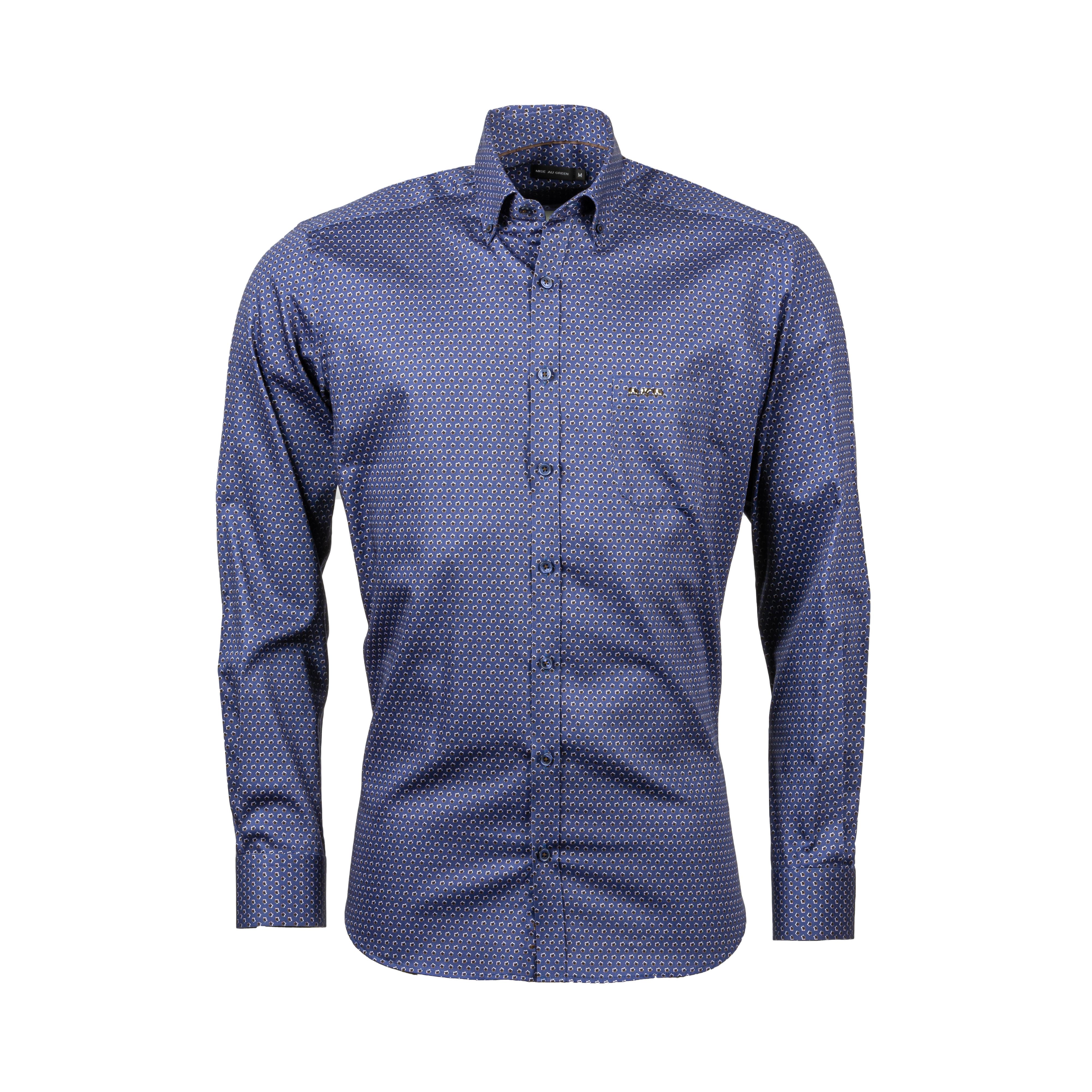 Chemise ajustée Mise au green en coton bleu marine à motifs floraux noirs et marron
