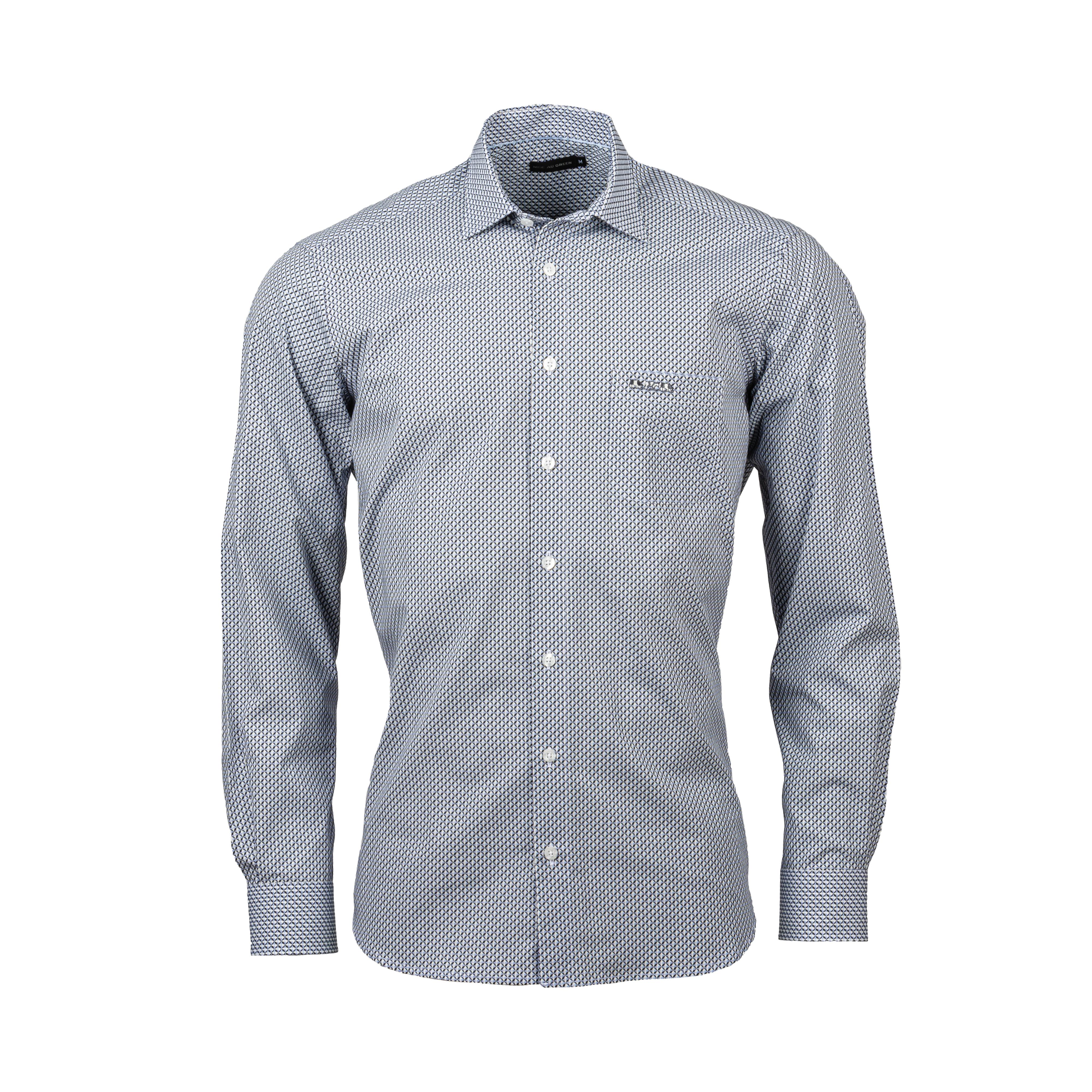 Chemise ajustée Mise au green en coton blanc à motifs graphiques bleu marine et bleu ciel