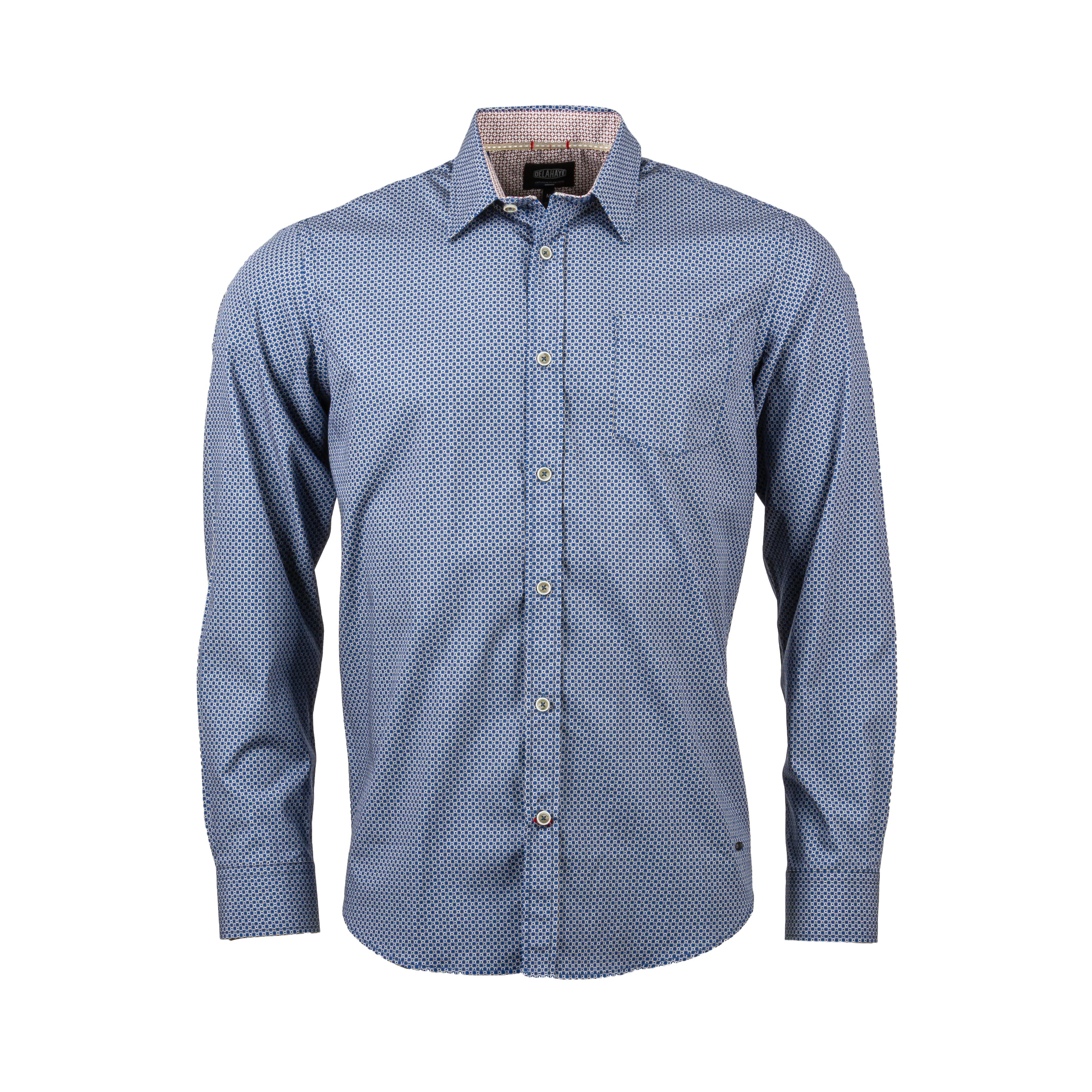 Chemise ajustée Delahaye en coton à micro motifs bleus, marron et blancs