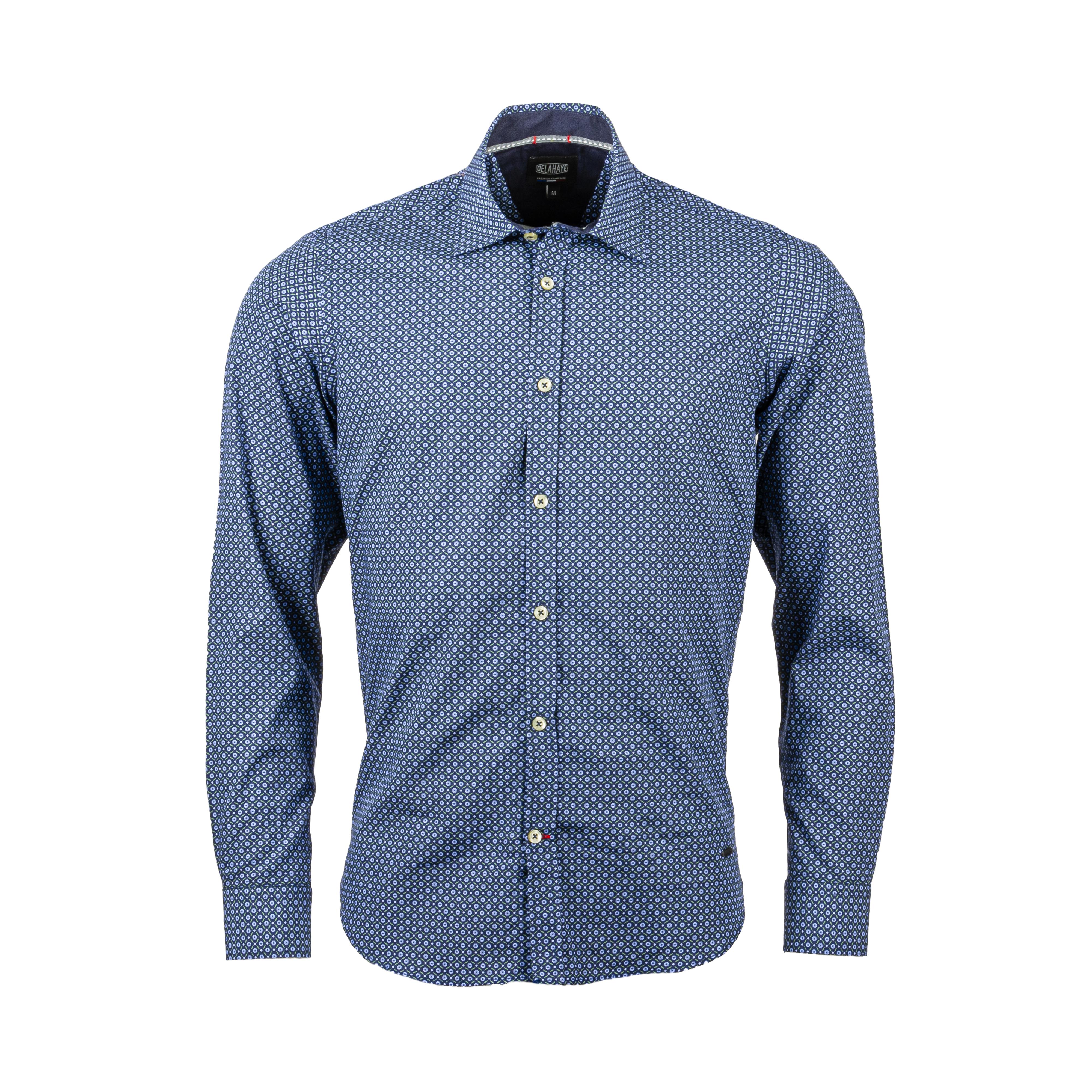 Chemise ajustée Delahaye en coton bleu marine à motifs verts et gris