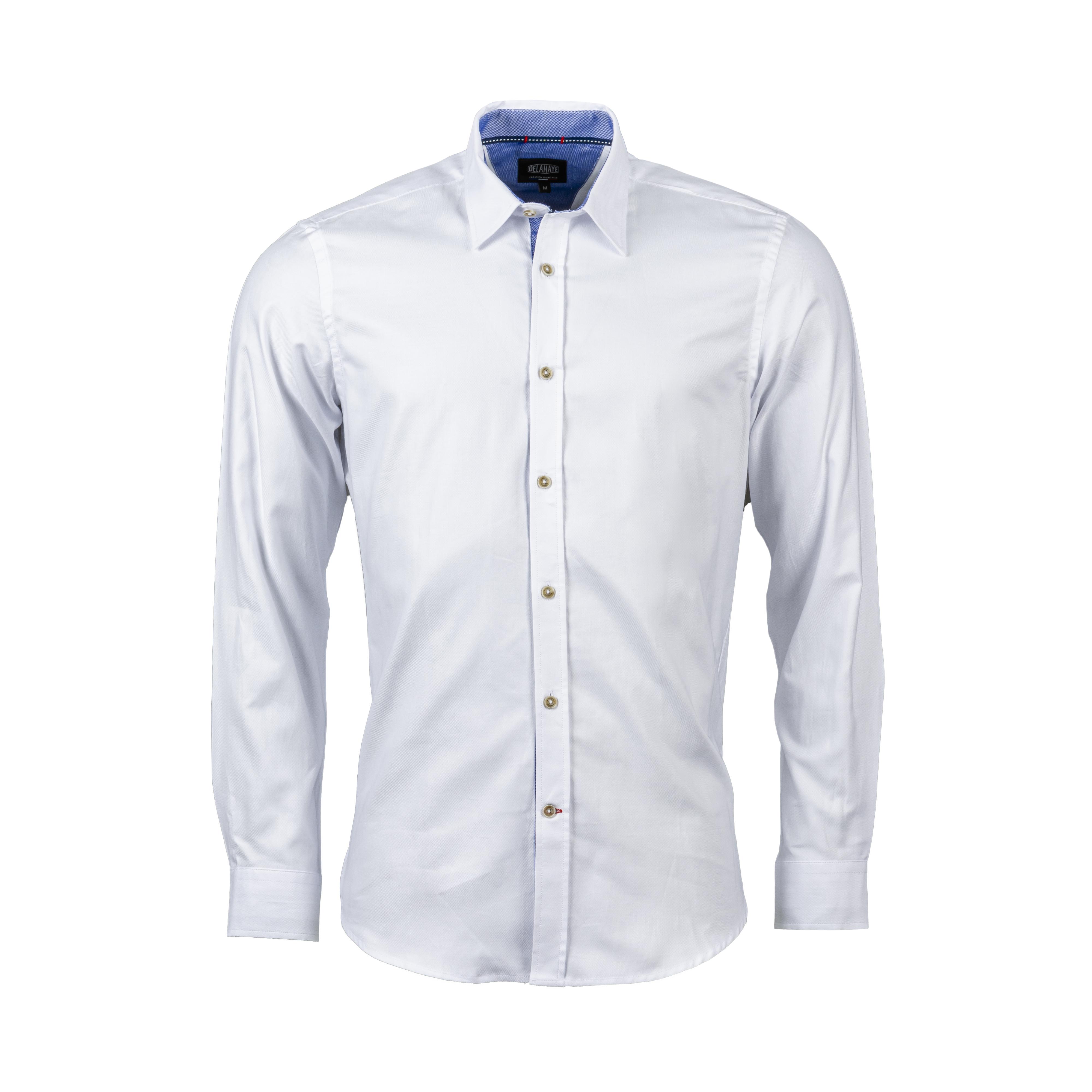 Chemise ajustée Delahaye en coton piqué blanc à détails en suédine marron