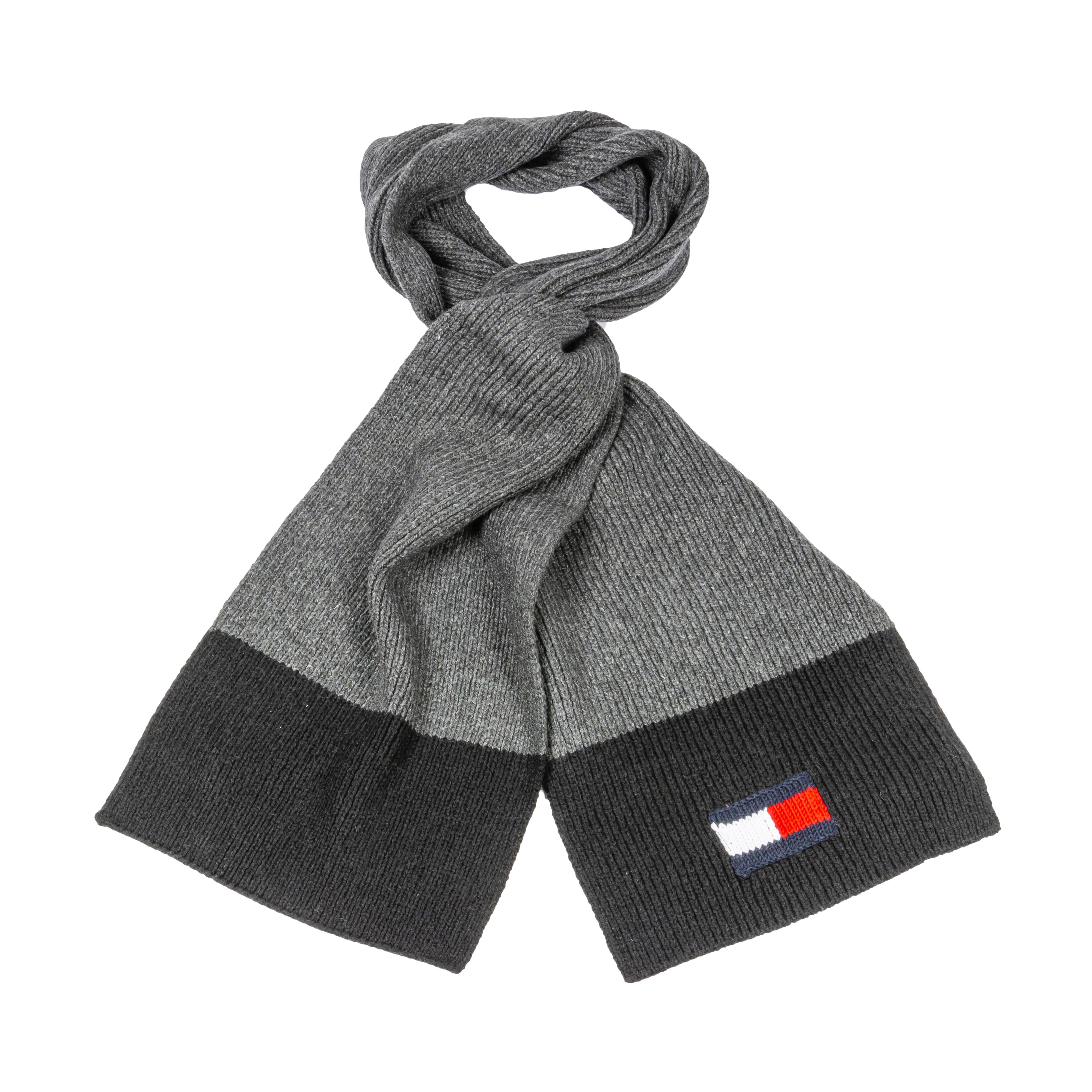 Echarpe tommy hilfiger big flag en laine et coton mélangé gris et noirs