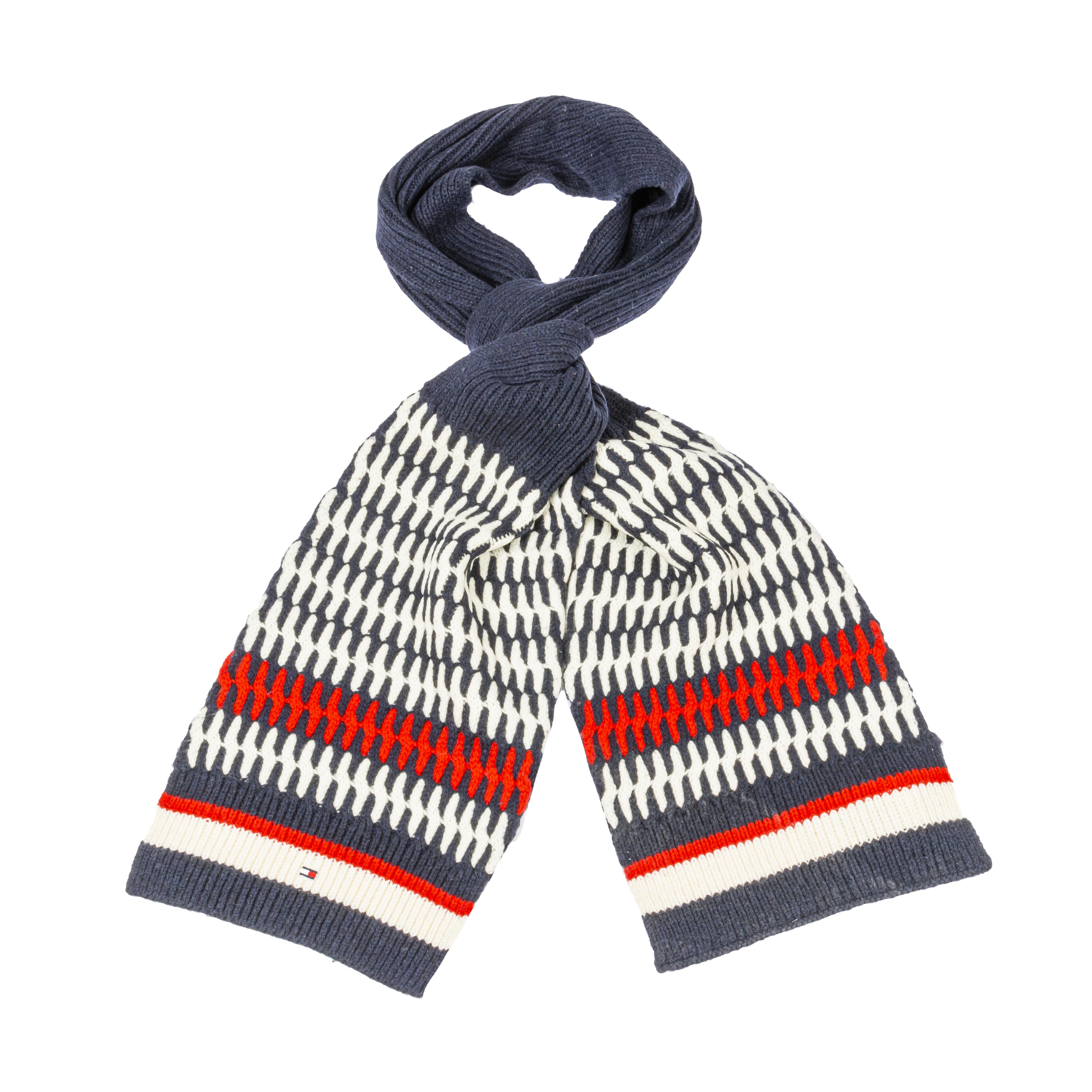 Echarpe tommy hilfiger tailored cable en laine mélangé bleu marine, rouge et blanc cassé