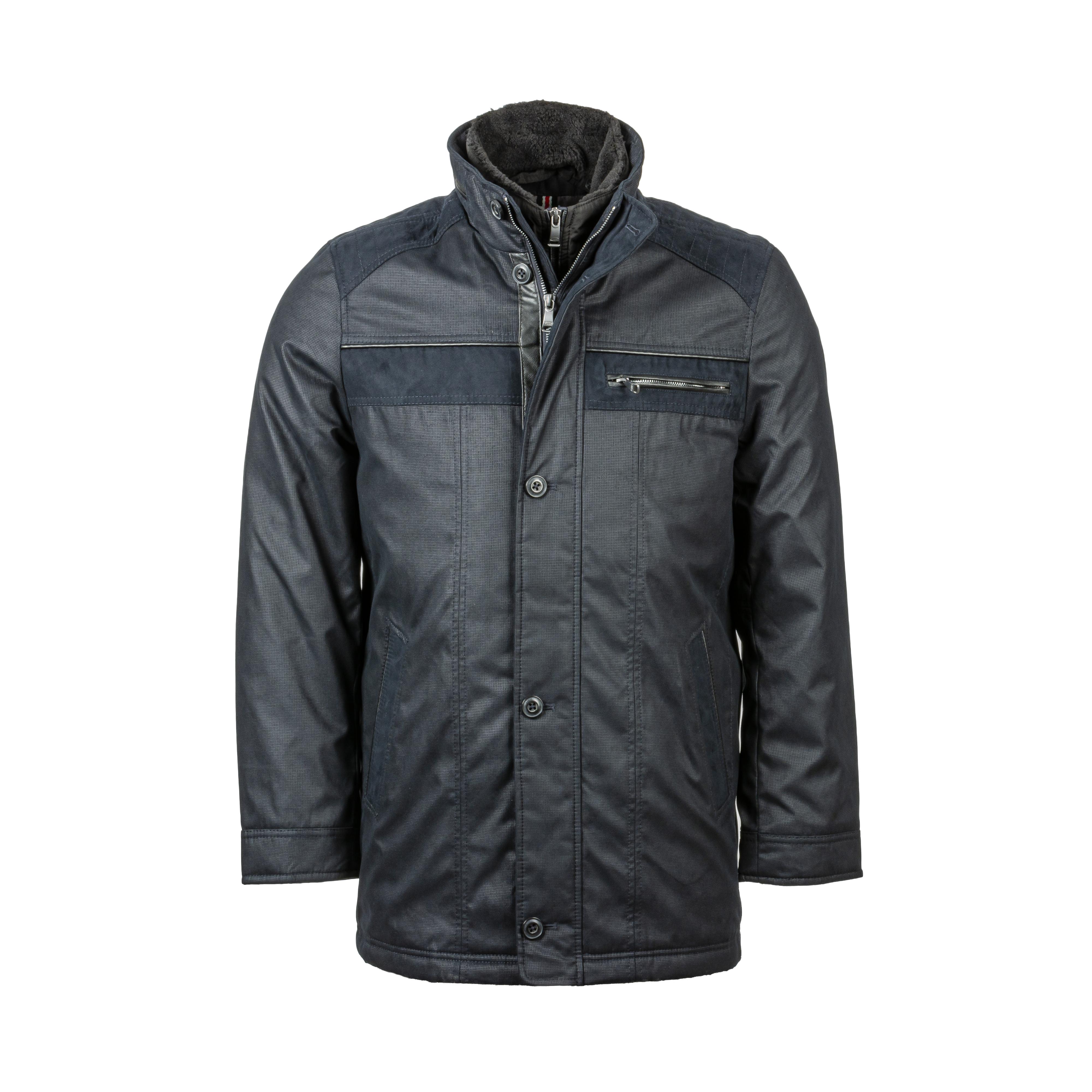 Manteau Delahaye bi-matière bleu marine
