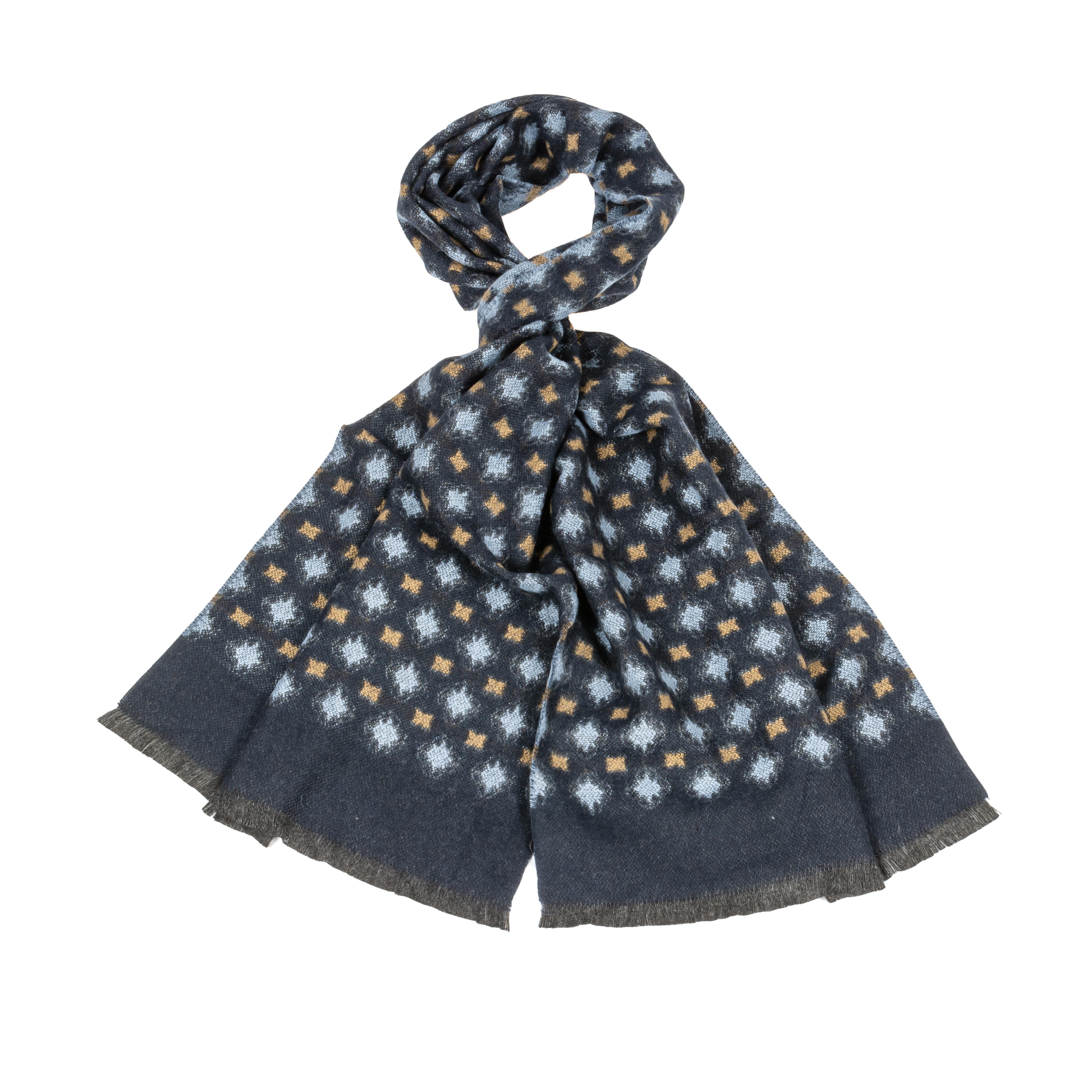 Echarpe  en laine mélangé bleu marine à imprimés bleus et marron