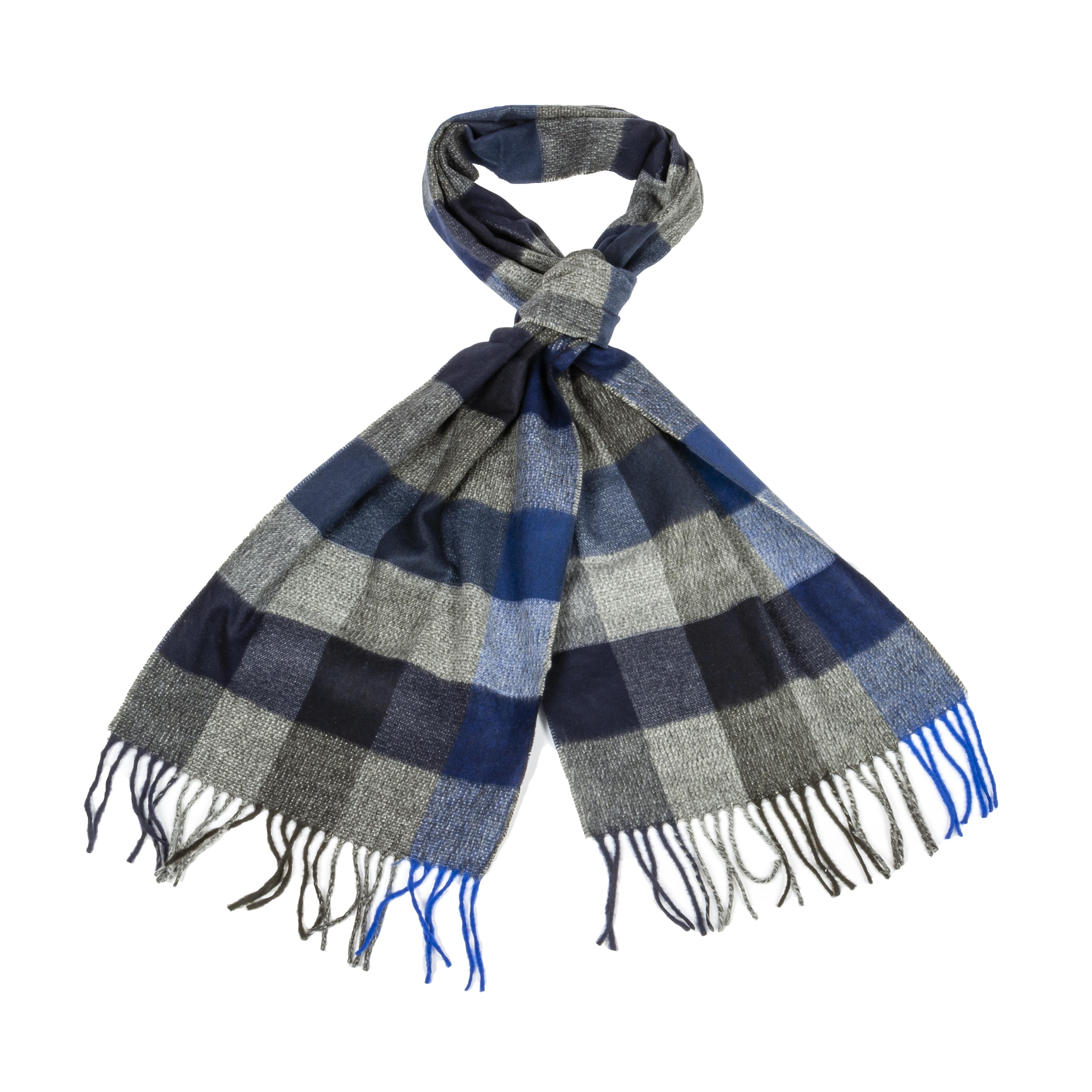 Echarpe  à carreaux bleus et gris