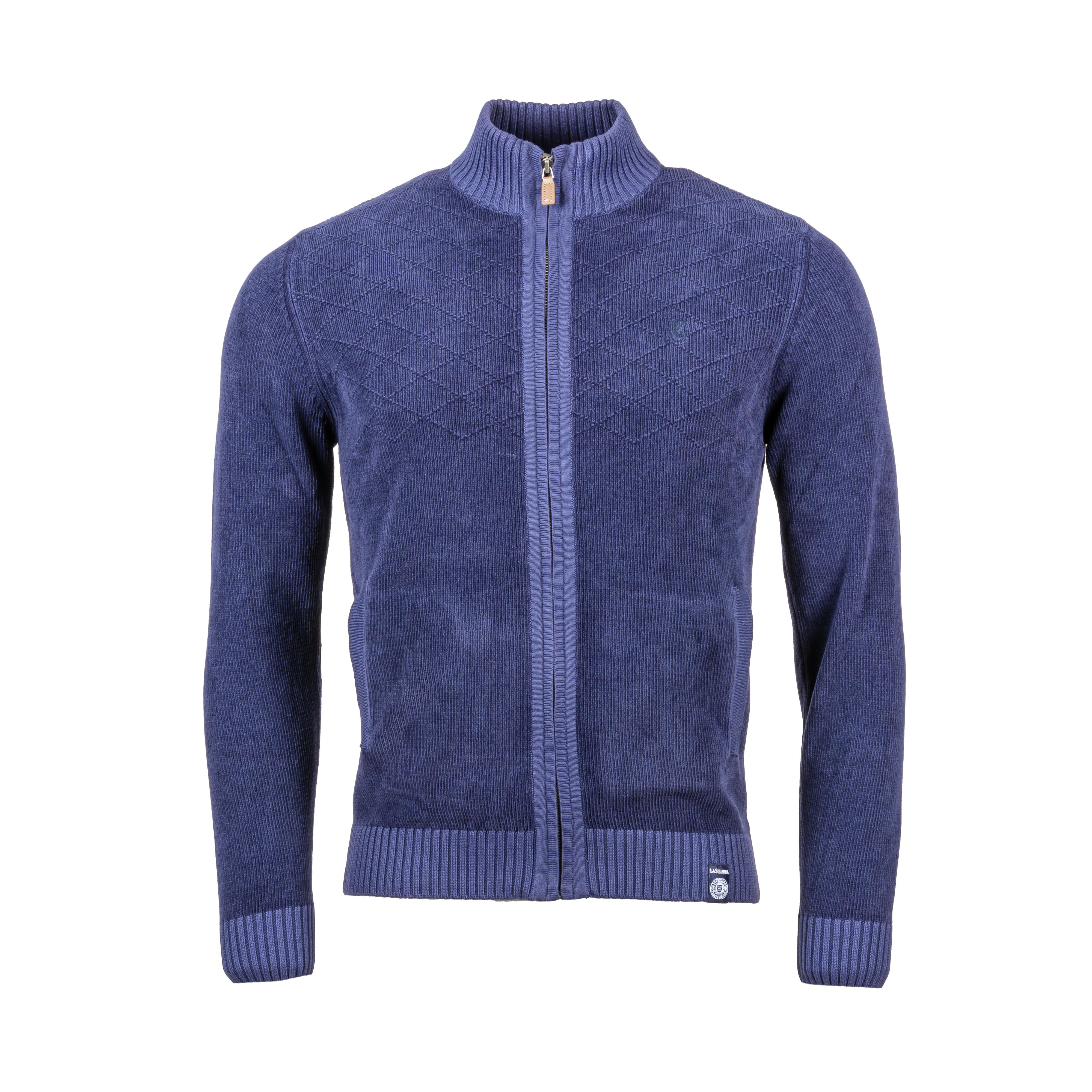 Gilet La Squadra Salara en coton bleu marine à motifs losanges texturés