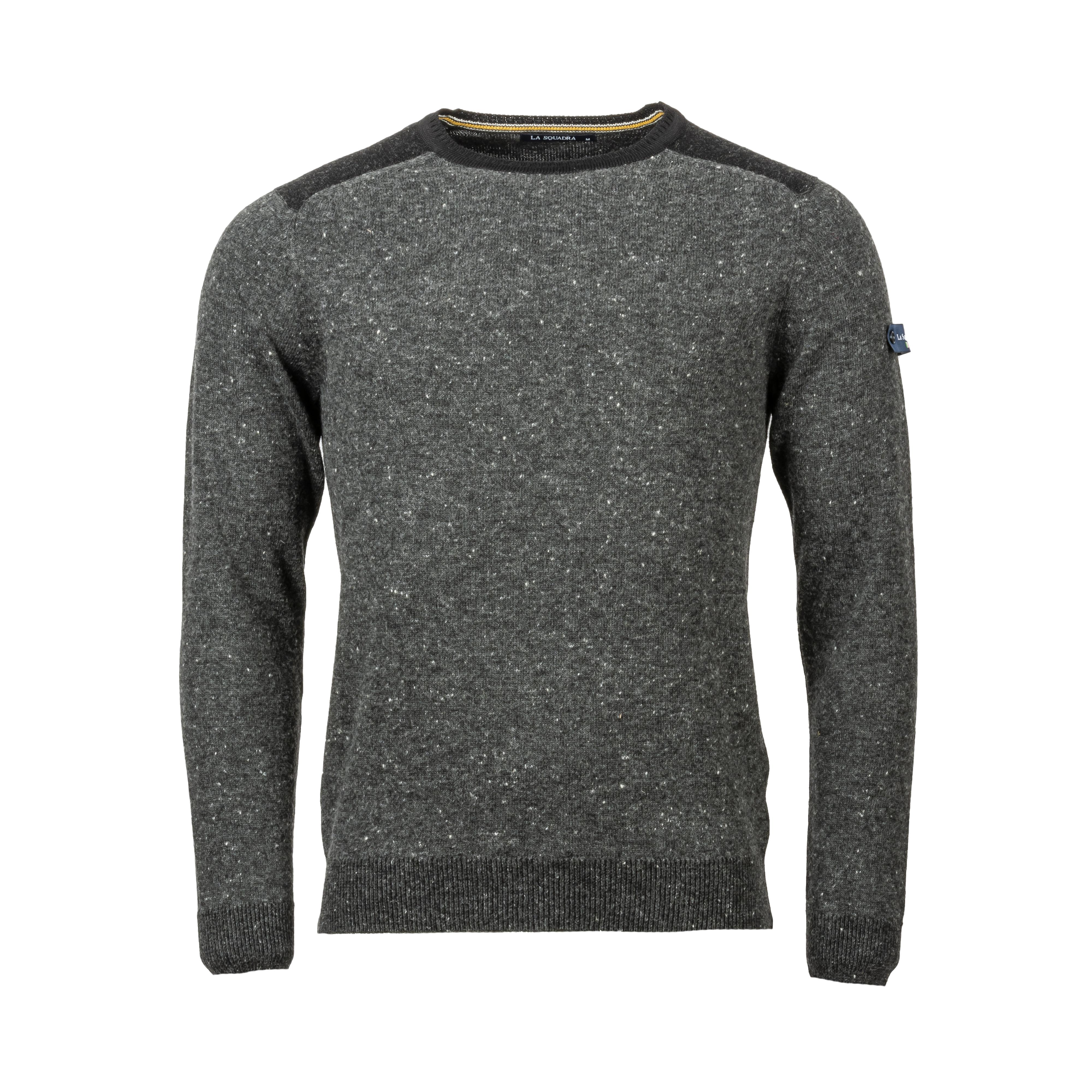 Pull col rond La Squadra en laine mélangée gris anthracite chiné et noir