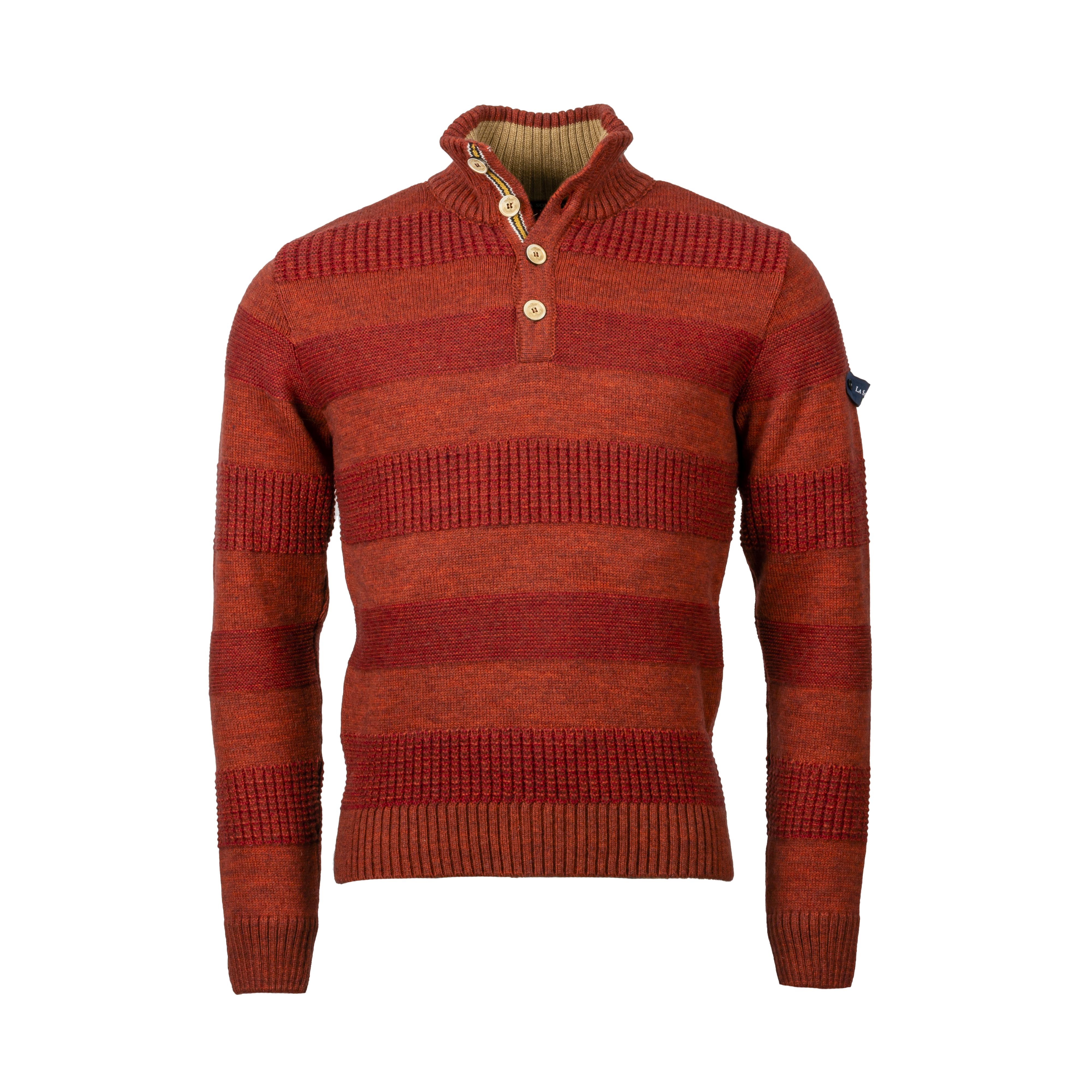 Pull col montant boutonné La Squadra Santorso en laine mélangée rouge