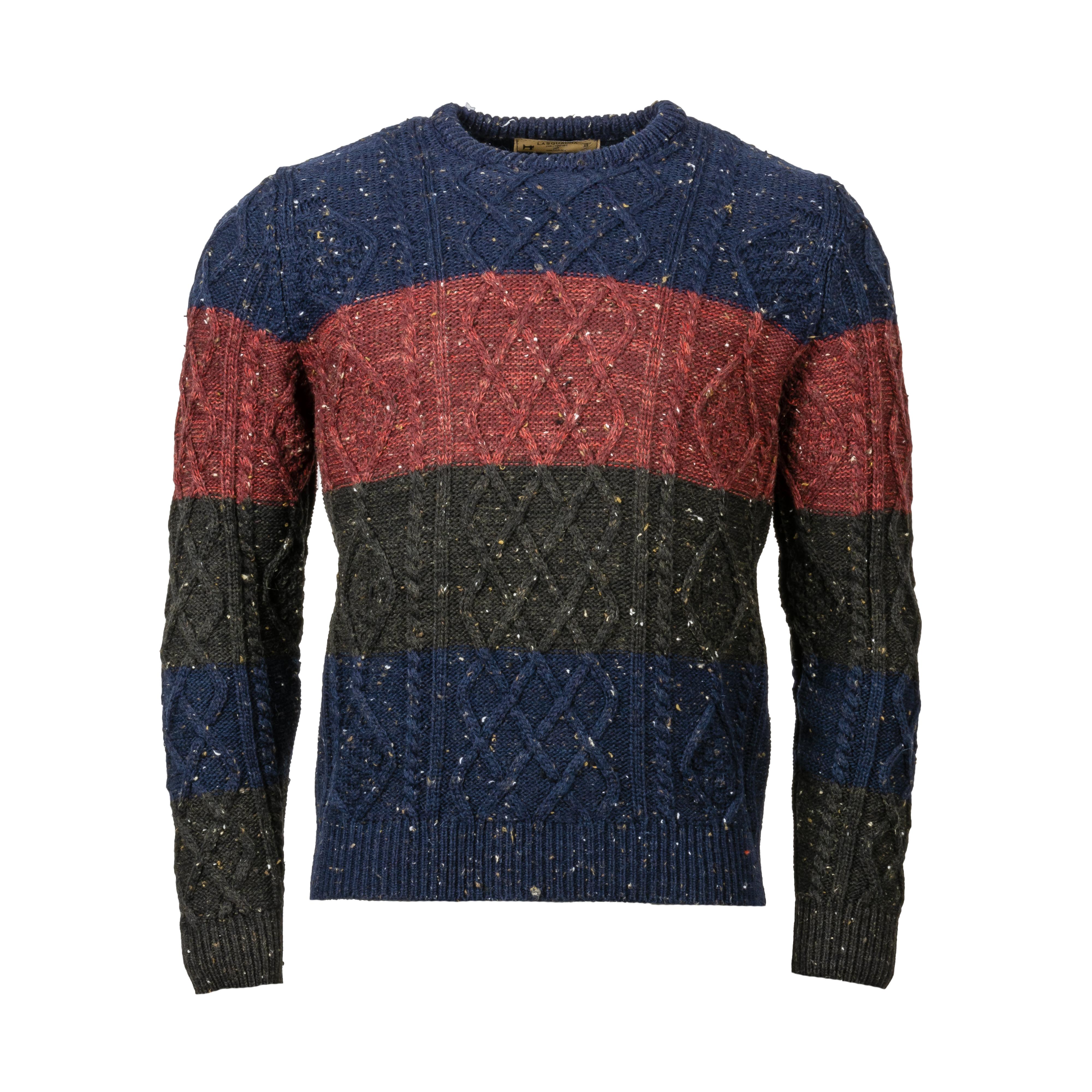 Pull col rond La Squadra Politano en laine mélangée rayée en bleu marine, rouge et gris anthracite