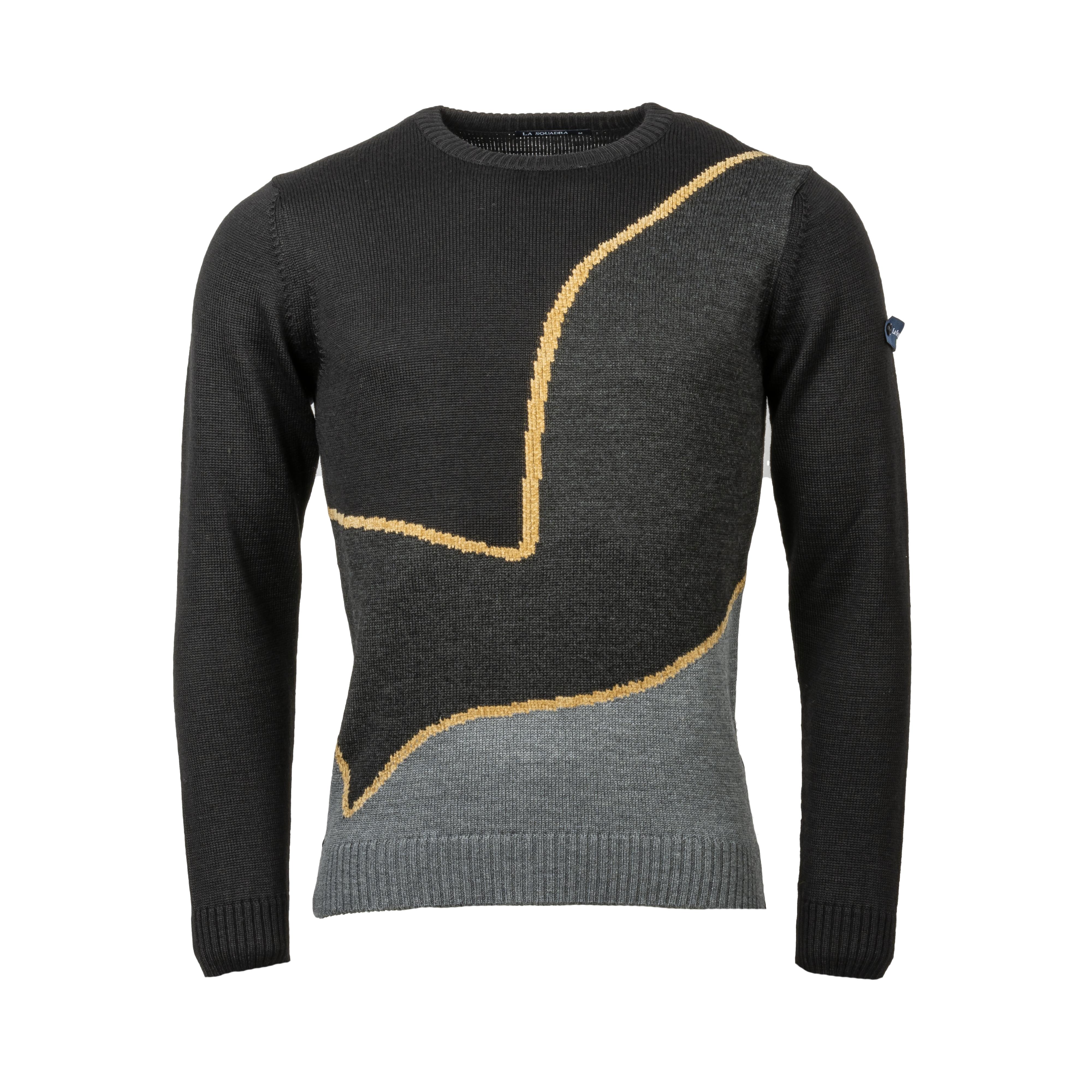 Pull col rond La Squadra Salorno en laine mélangée noire, gris anthracite et gris chiné