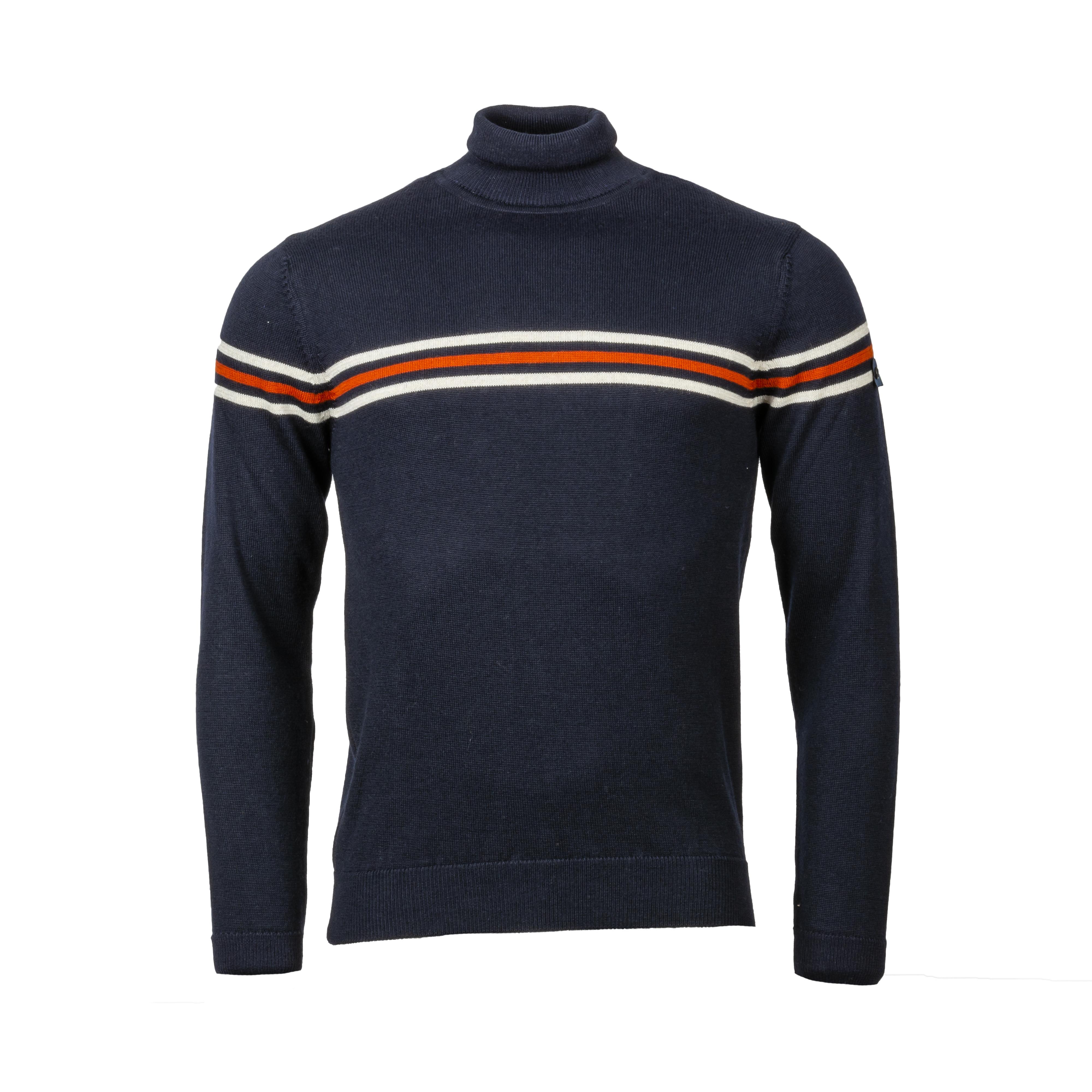 Pull col roulé La Squadra Salve en laine mélangée bleu marine à détails blancs et rouge