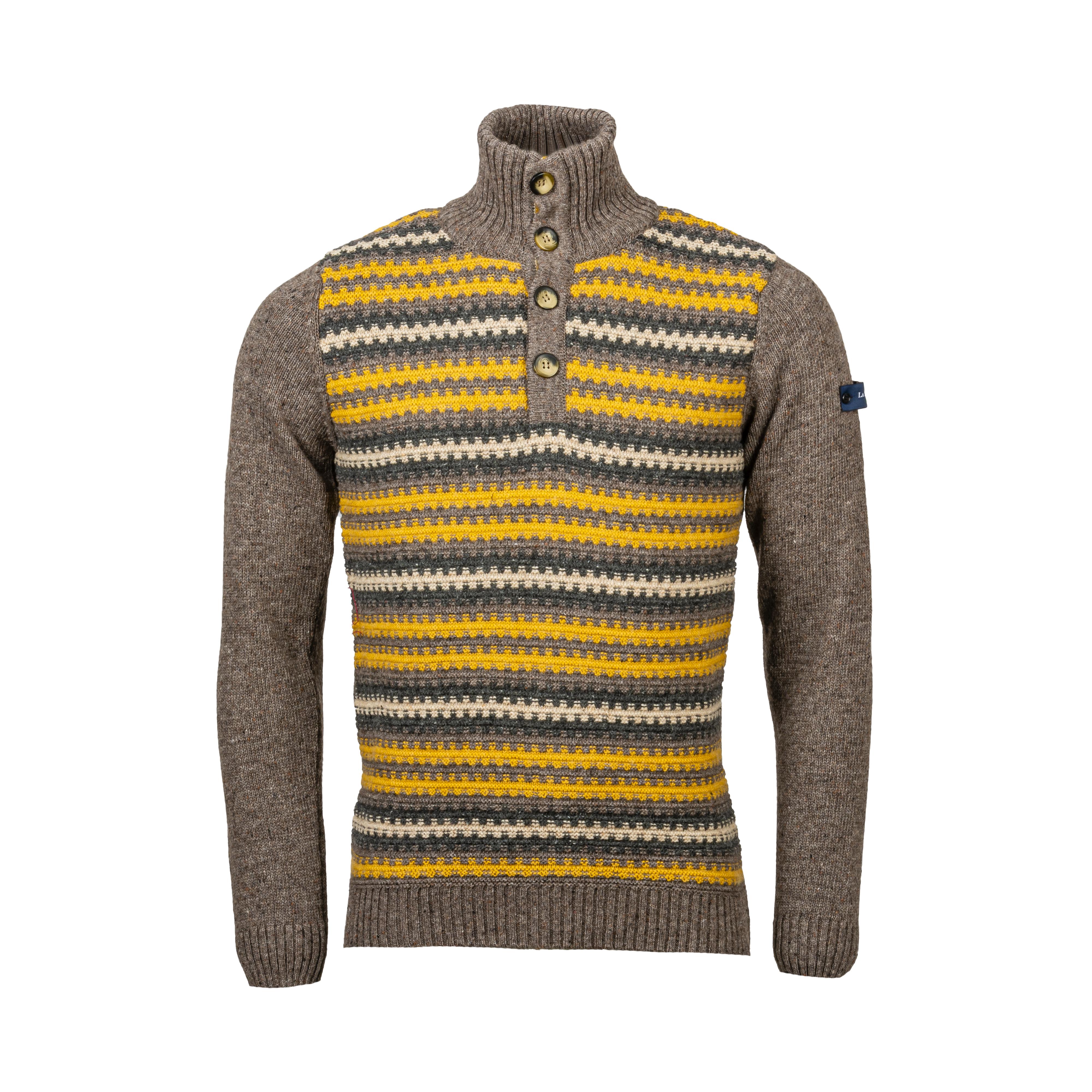 Pull col montant boutonné La Squadra Santandi en laine mélangée marron à rayures jaunes, blanches et gris anthracite
