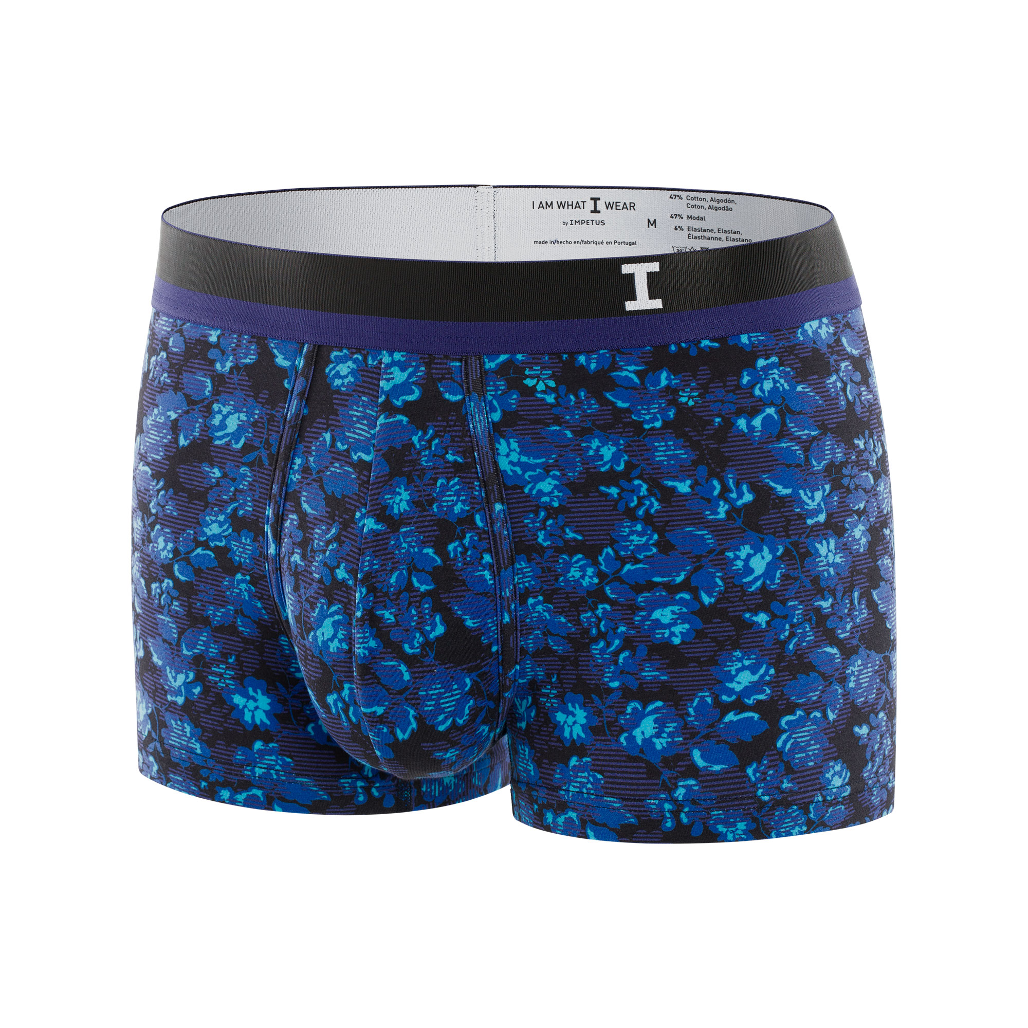 Boxer I Am What I Wear Smart en coton et modal stretch à motifs fleuris violets, bleu ciel et noirs