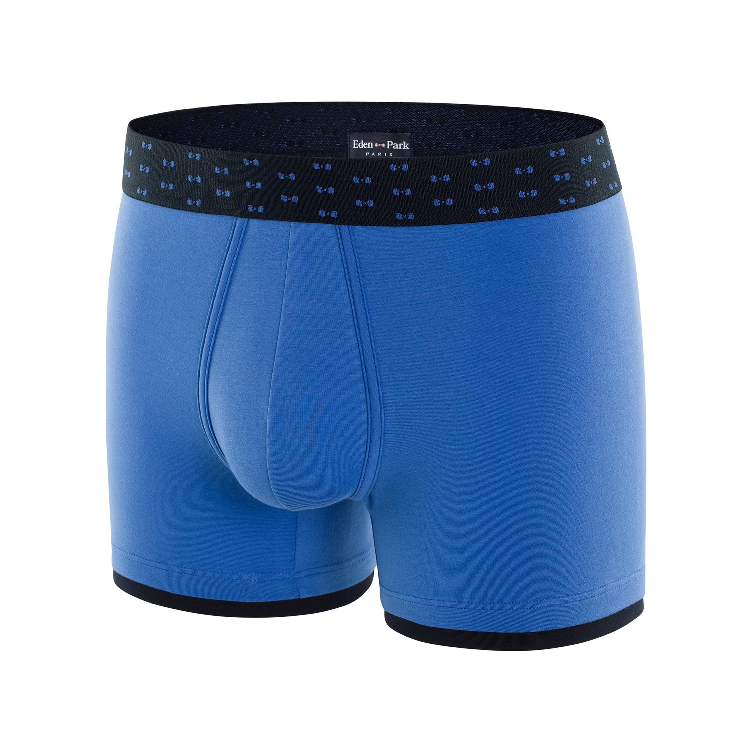 Boxer eden park en coton stretch bleu ciel à liseré bleu marine