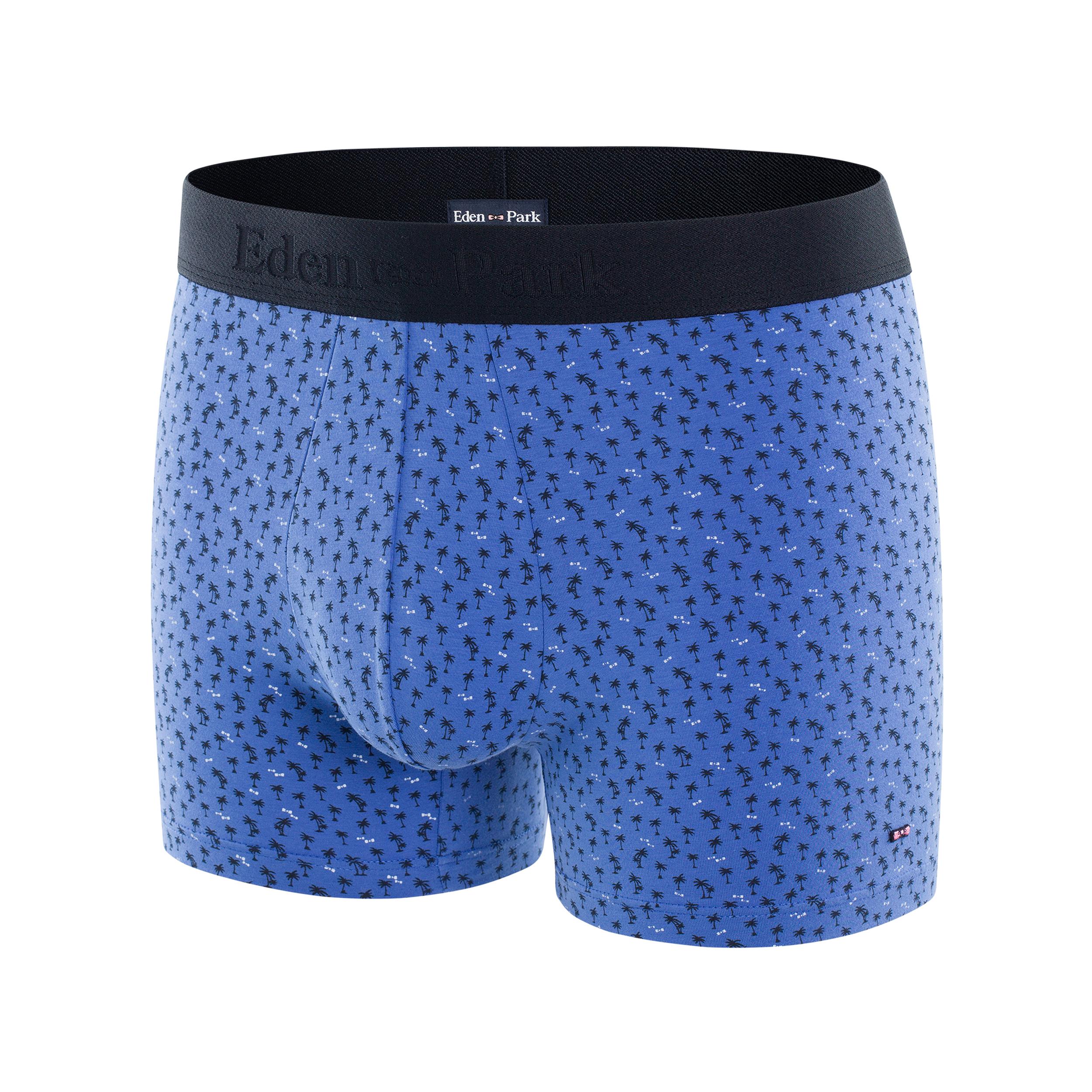Boxer eden park en coton stretch bleu ciel à motifs palmiers bleu marine