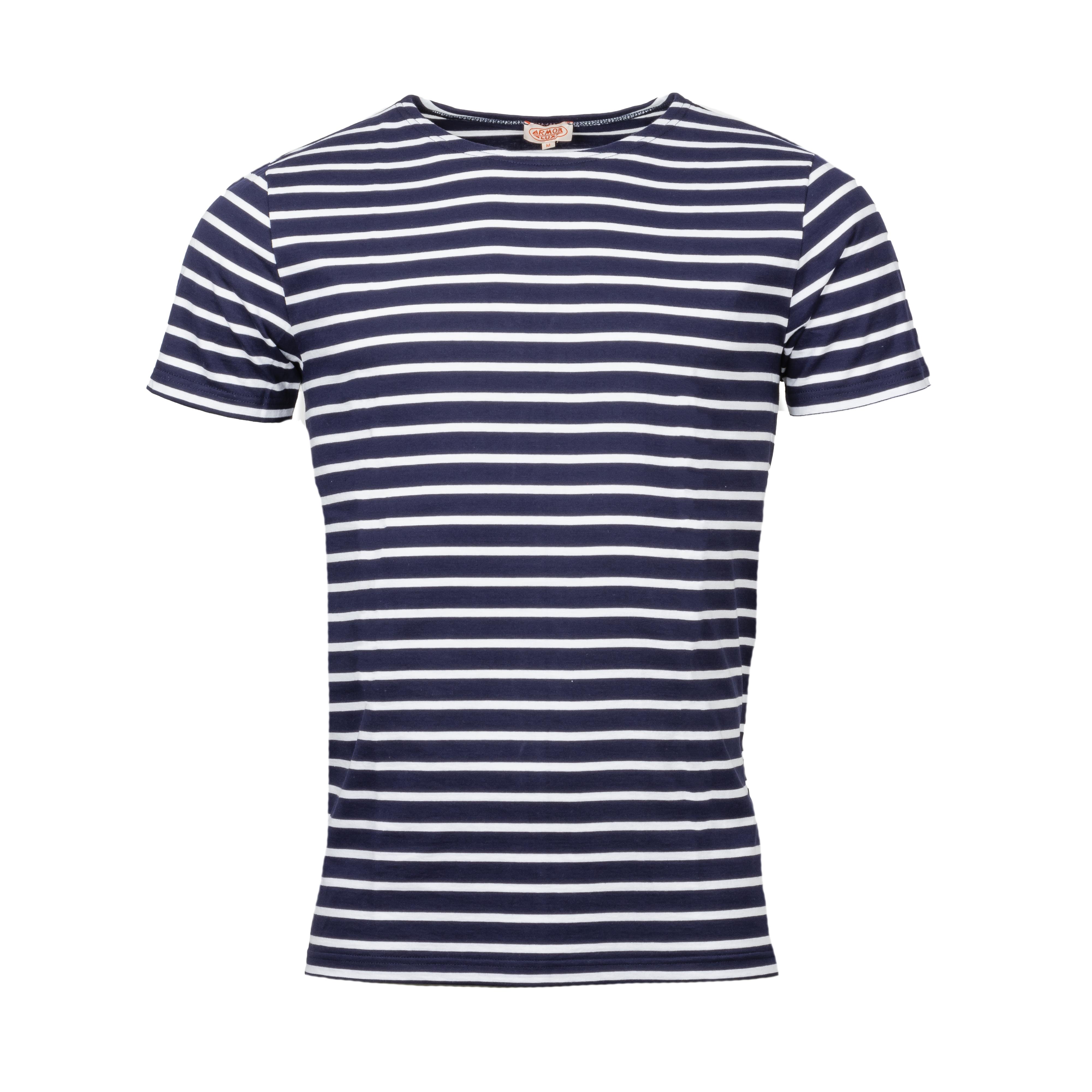 Tee-shirt marinière Armor lux Hoëdic en coton bleu marine rayé blanc