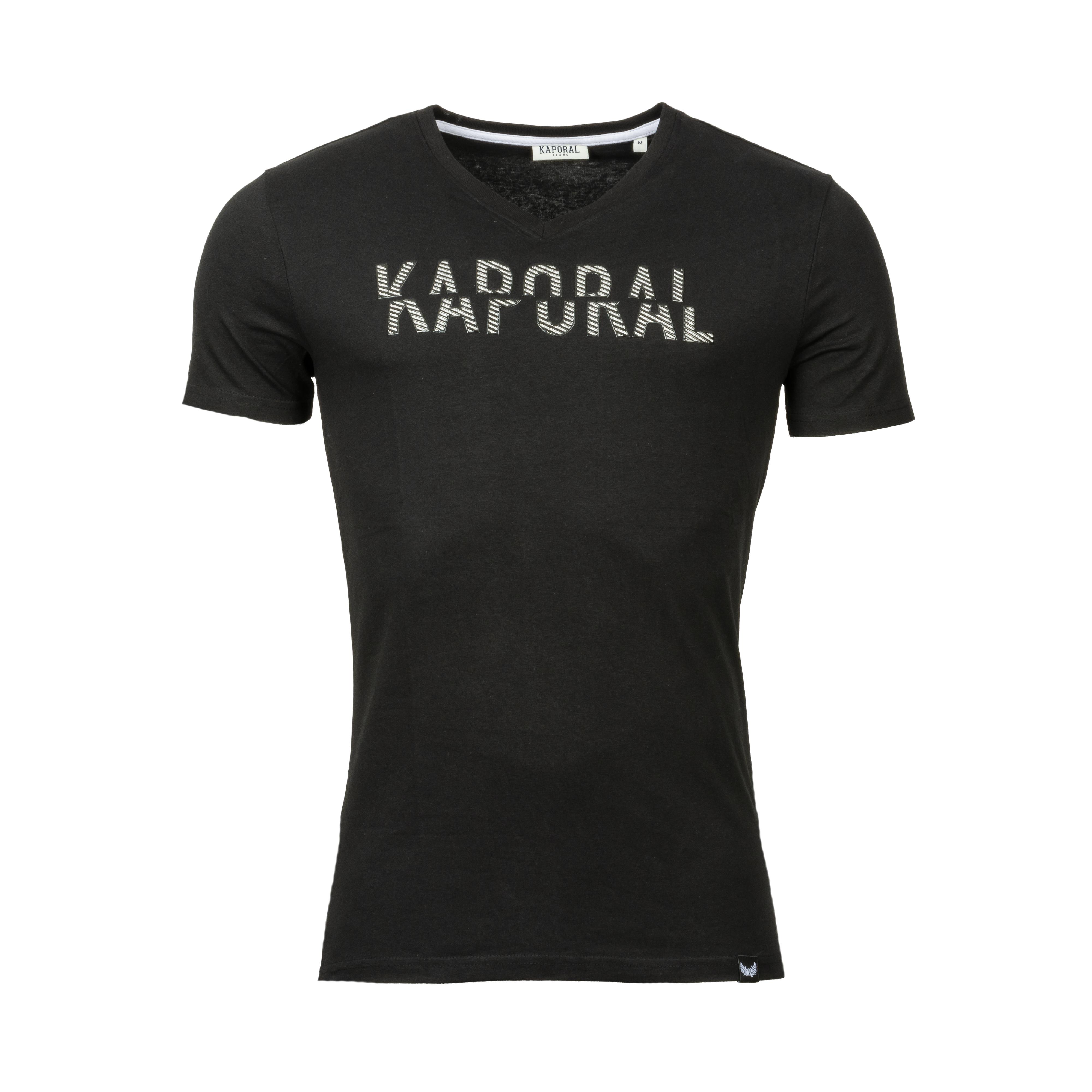 Tee-shirt col v  mocke en coton stretch noir floqué