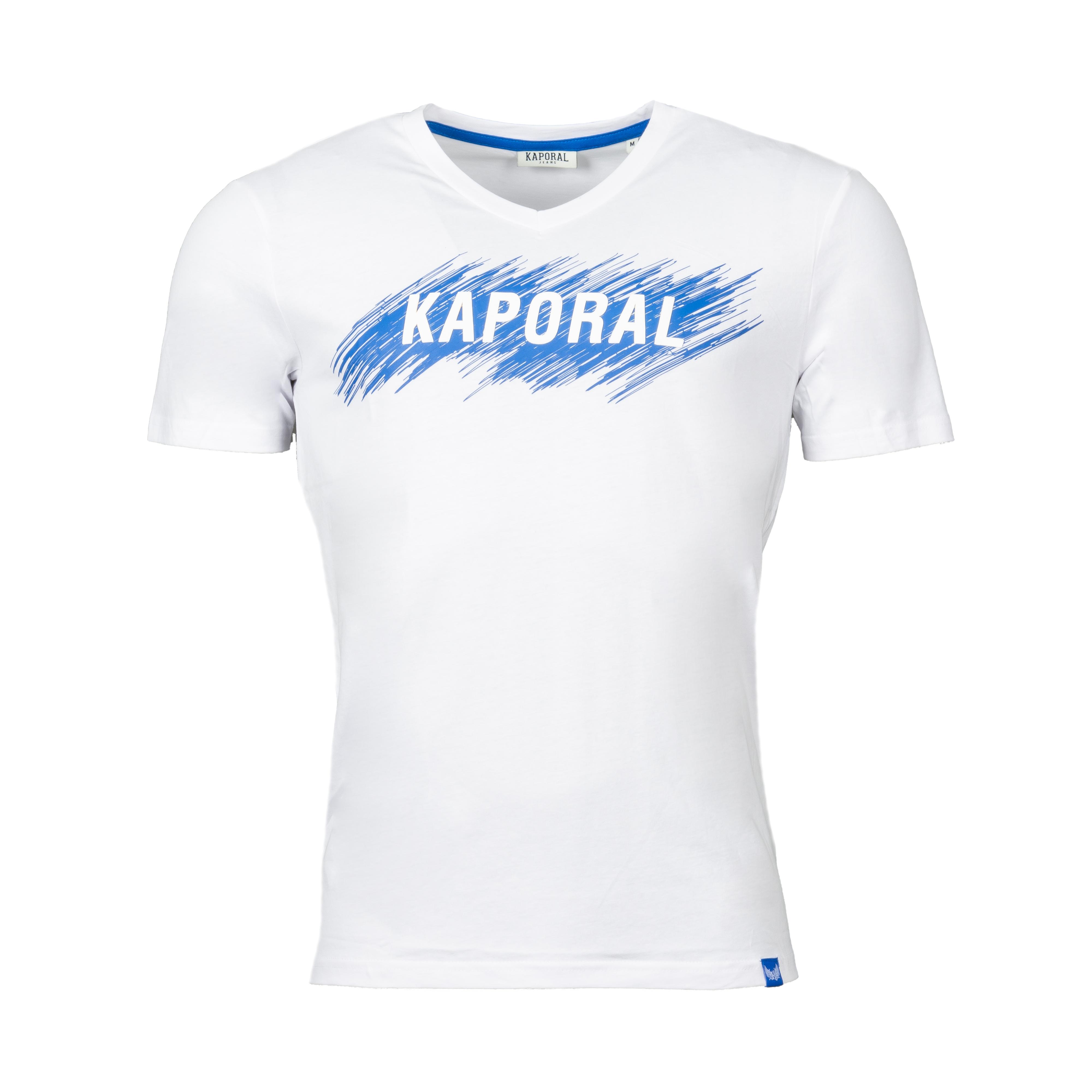 Tee-shirt col v  masse en coton blanc floqué en bleu