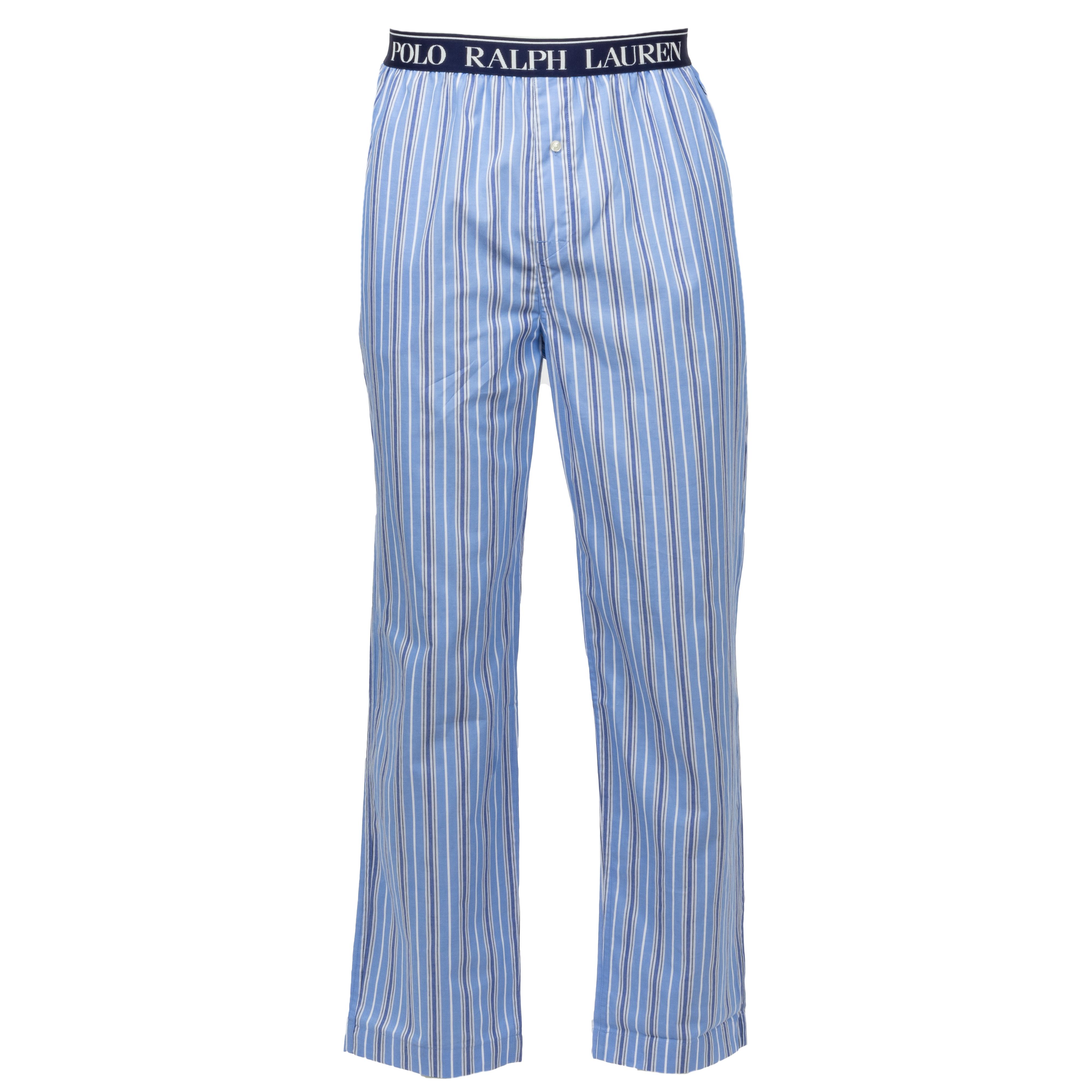 Pantalon de pyjama  en coton bleu ciel à fines rayures verticales