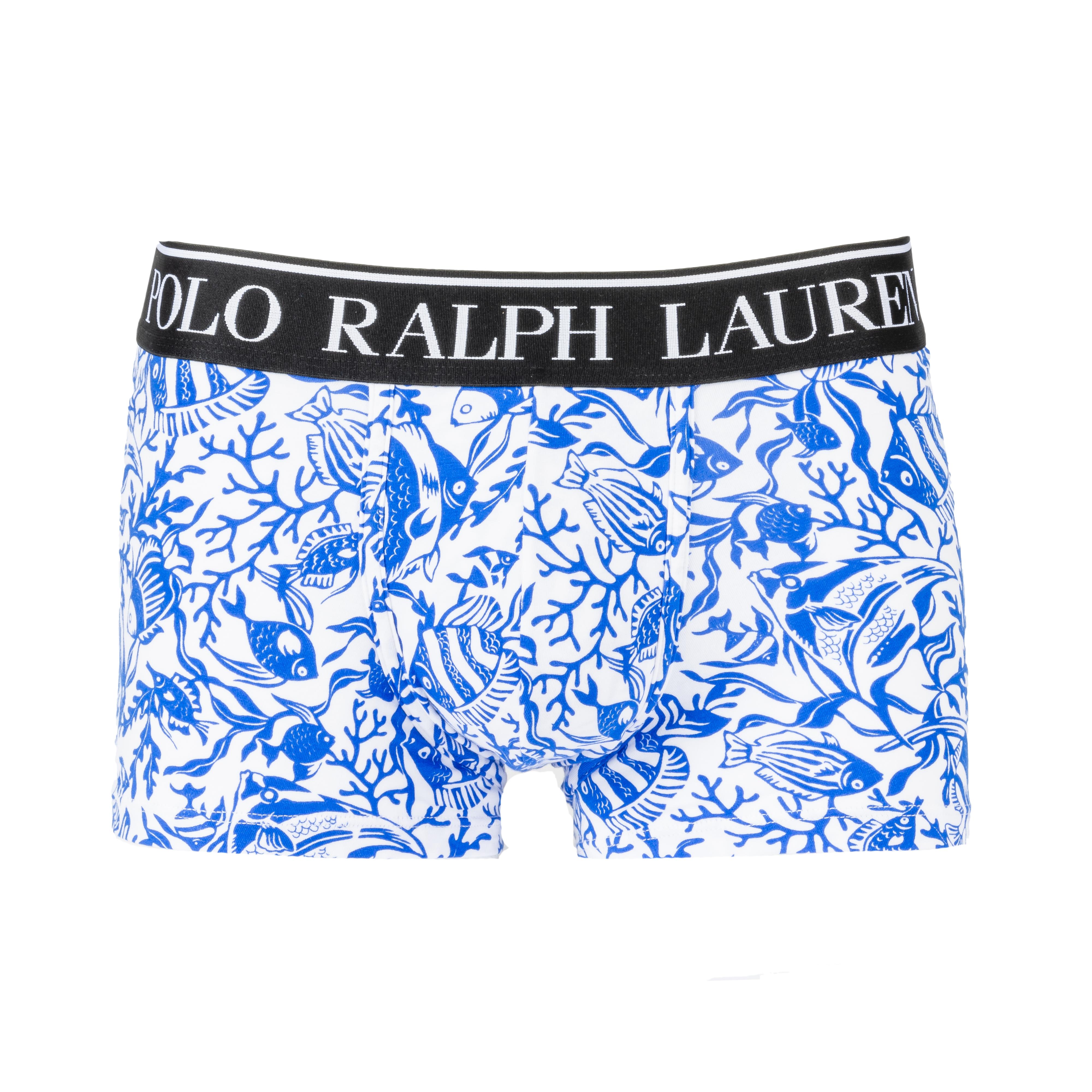 Boxer  en coton stretch blanc à motifs poissons bleu azur