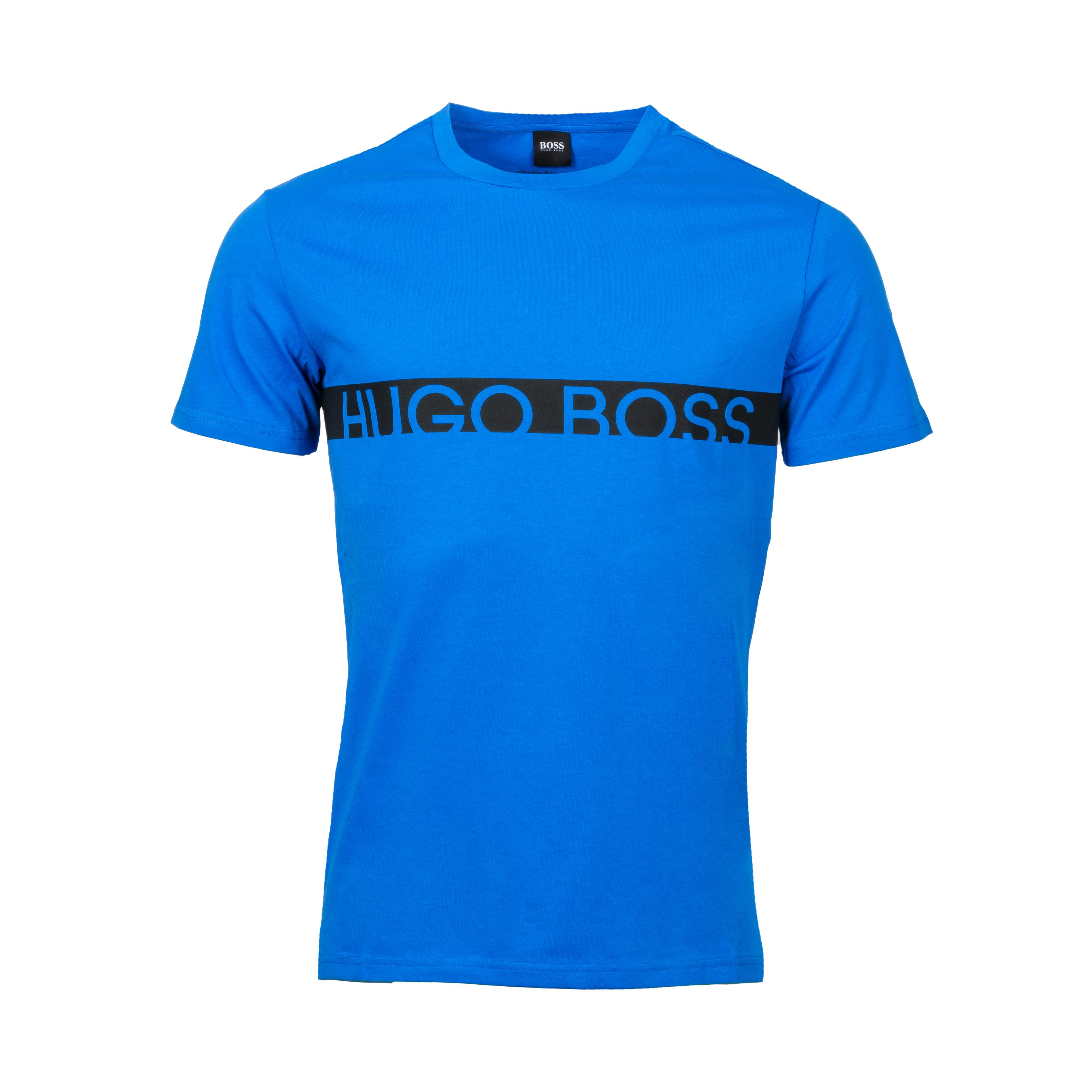Tee-shirt col rond anti uv  en coton bleu électrique floqué en noir