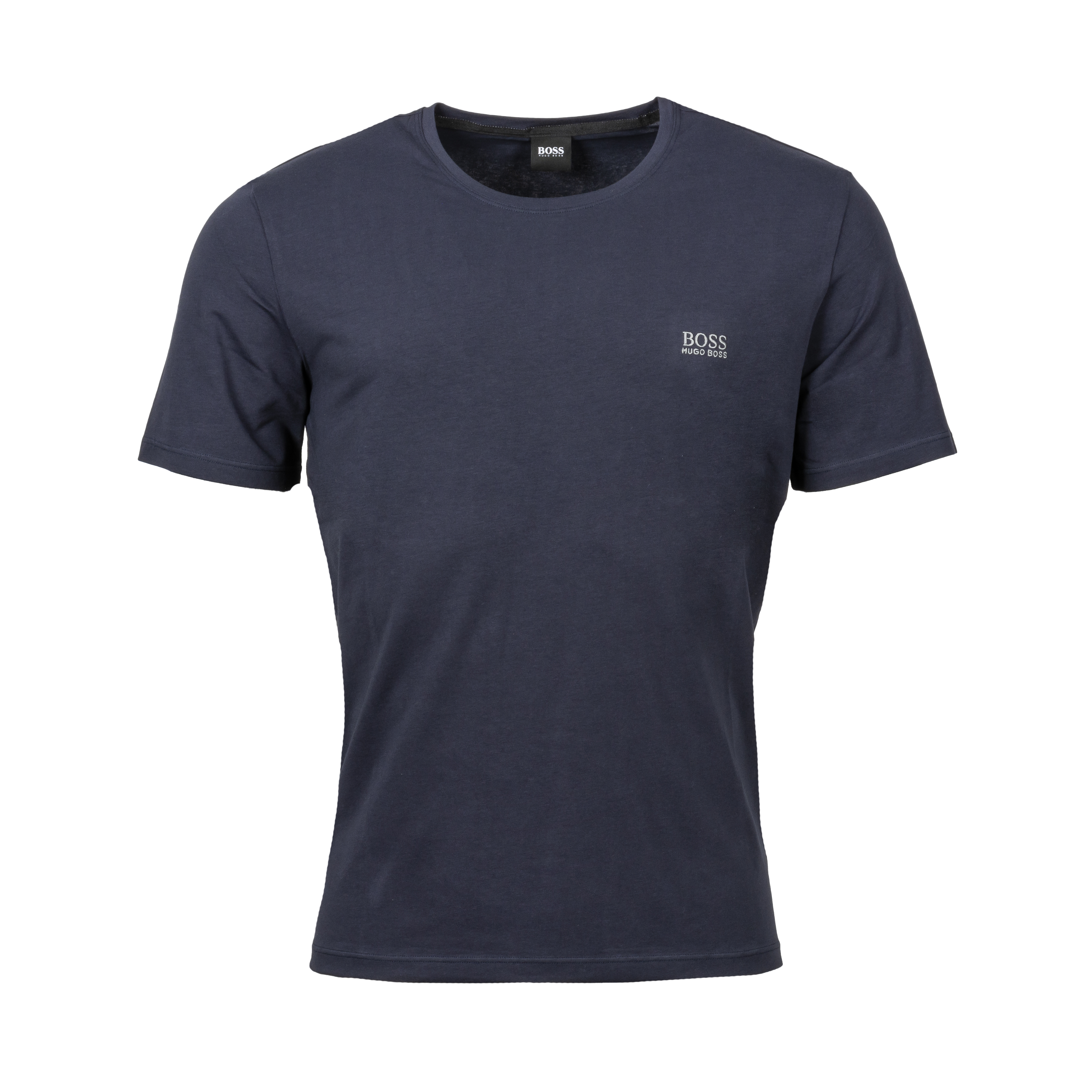 Tee-shirt col rond  en coton stretch bleu marine brodé