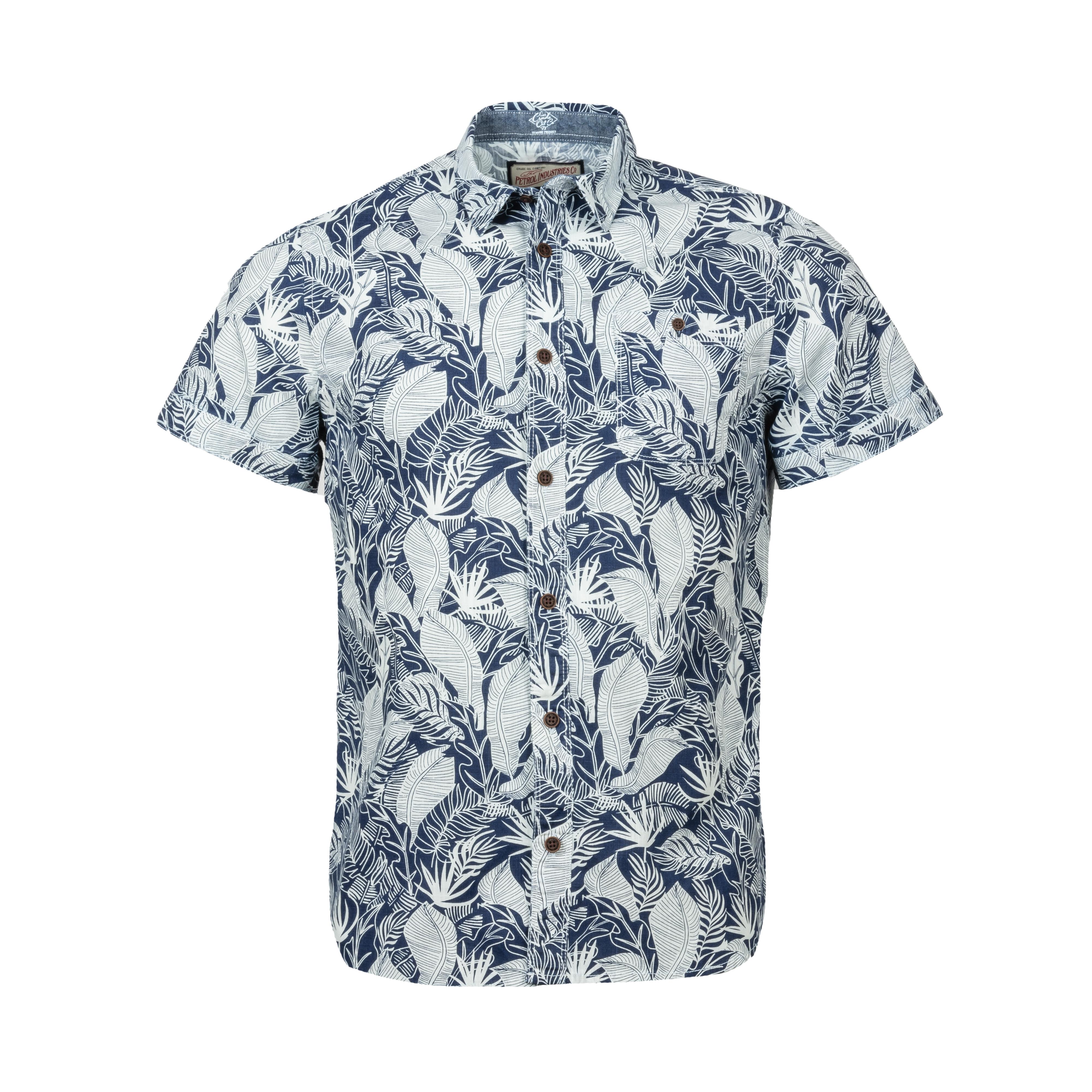 Chemise manches courtes coupe droite  en coton bleu marine et bleu ciel à motifs