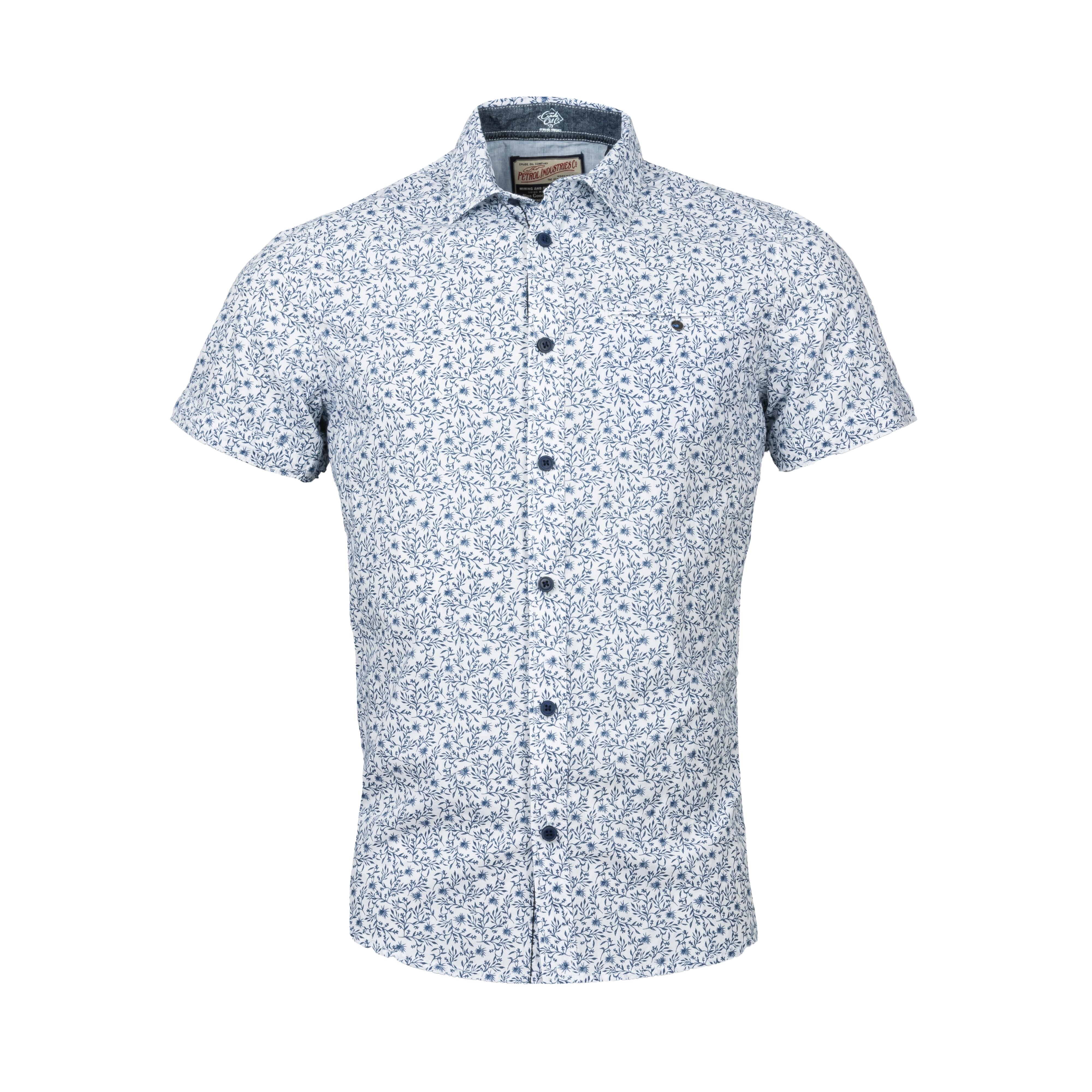 Chemise manches courtes coupe ajustée  en coton stretch blanc à motifs fleurs bleu marine
