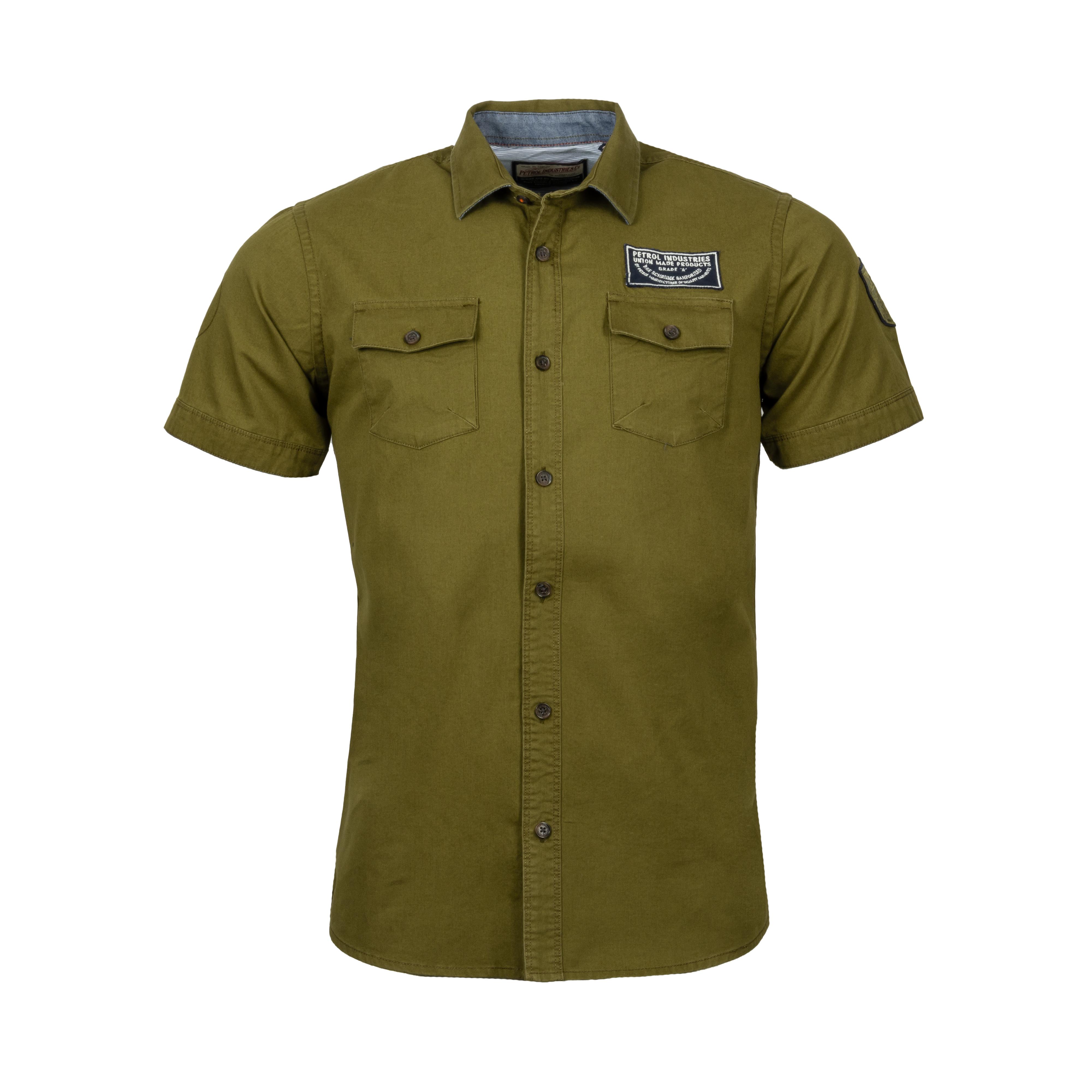 Chemise manches courtes coupe ajustée  en coton vert kaki