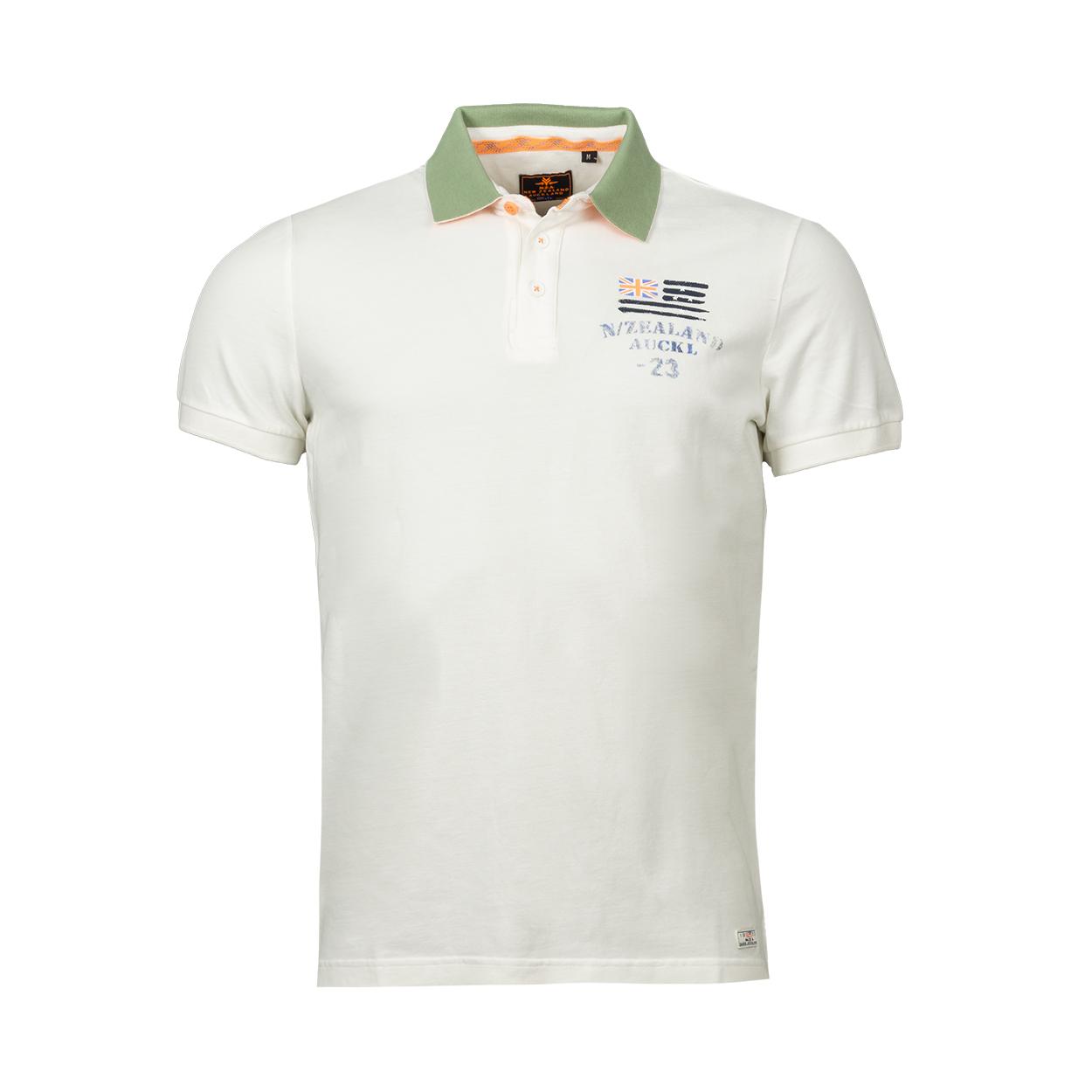 Polo NZA Saxton en coton mélangé blanc et vert kaki