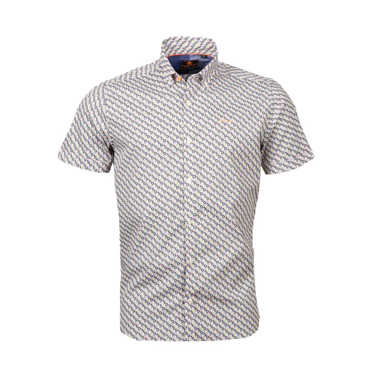 Chemise ajustée manches courtes NZA Havelock en coton stretch blanc à motifs multicolors