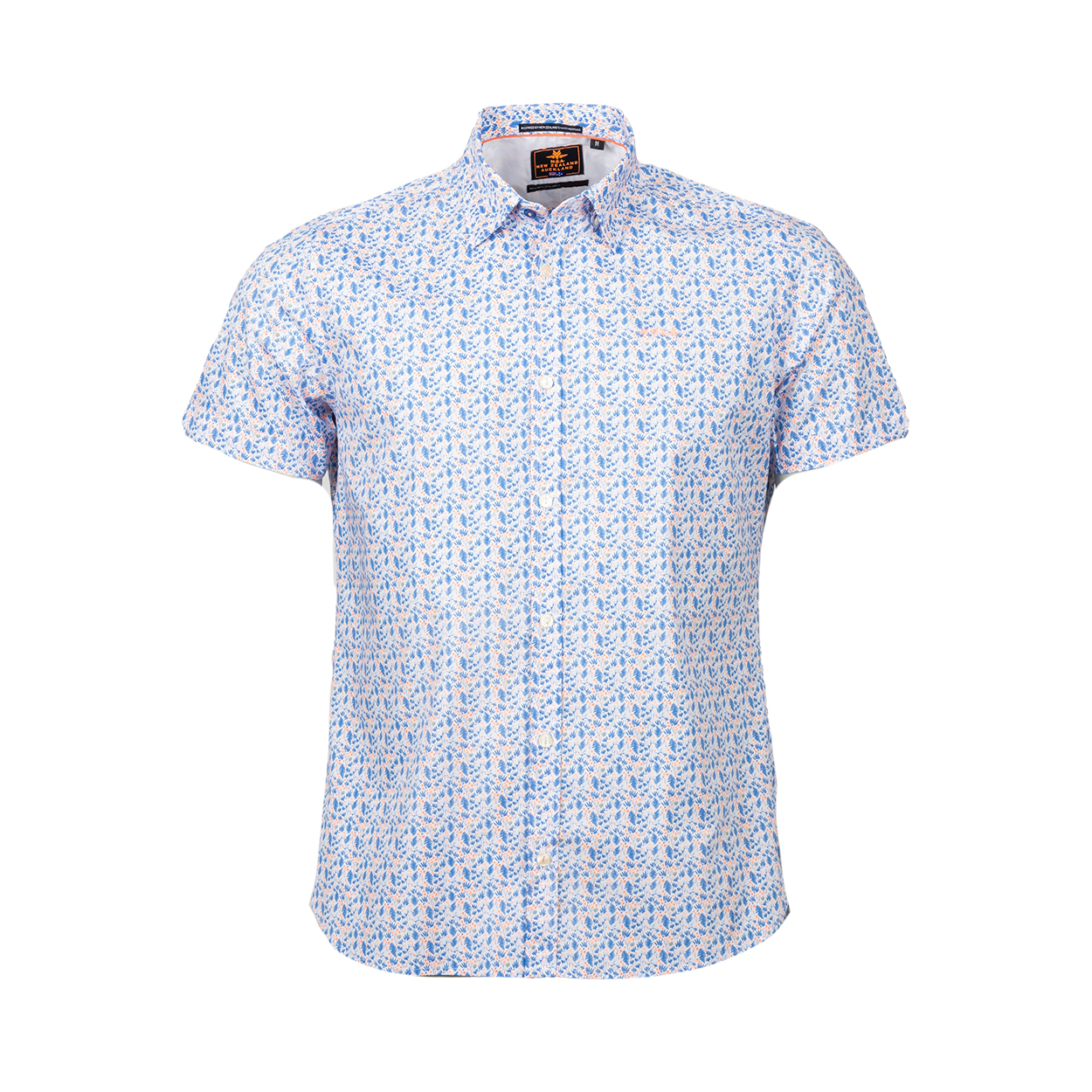 Chemise ajustée manches courtes NZA Fairlie en coton stretch blanc à motifs bleus et orange fluo