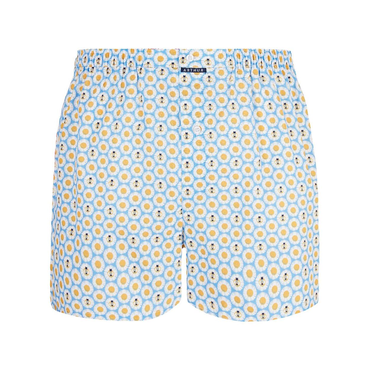 Caleçon club  paque en coton biologique bleu ciel à motifs marguerites blanches et jaunes