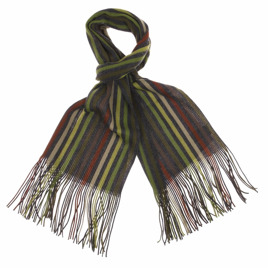 Écharpe à franges : rayures grises, vertes et marrons
