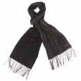 Echarpe Jean Chatel marron à rayures en laine vierge et cachemire