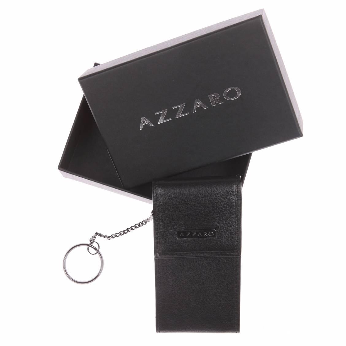 Porte-clés Azzaro estampillé en cuir noir