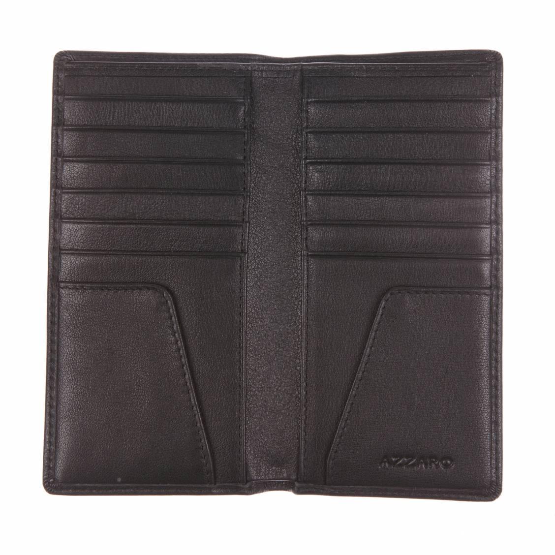 porte-cartes azzaro européen en cuir noir