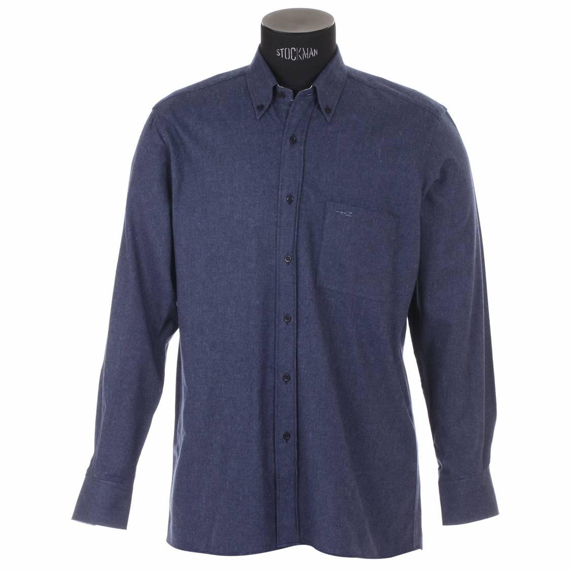 Chemise homme cintrée Horizon simili jean avec opposition à carreaux