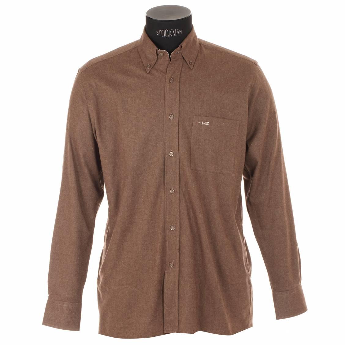 chemise homme cintr e horizon marron avec opposition carreaux rue des hommes. Black Bedroom Furniture Sets. Home Design Ideas