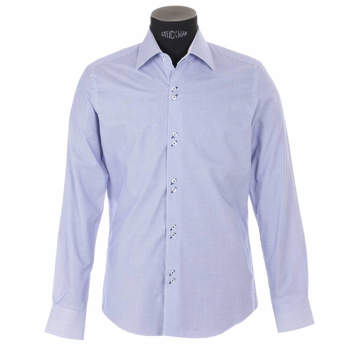 chemise homme ajust e horizon bleu carreaux avec opposition blanche rue des hommes. Black Bedroom Furniture Sets. Home Design Ideas