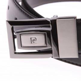 Ceinture Pierre Cardin ajustable et réversible Noire/Marron, petite boucle pleine design Twist
