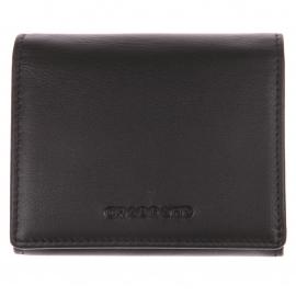 Petit portefeuille Chabrand boutonné en cuir Noir