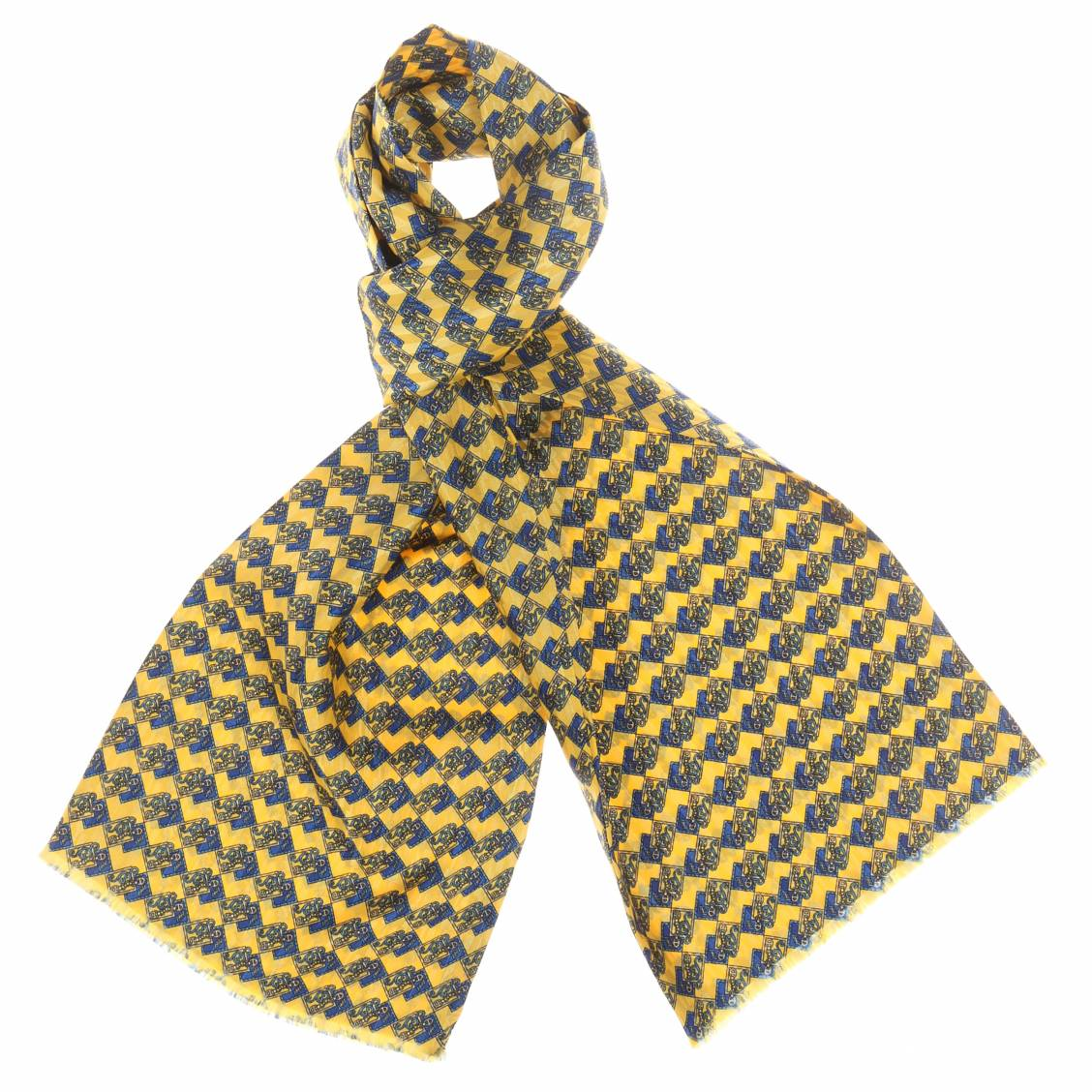 echarpe en soie jaune motifs bleus rue des hommes. Black Bedroom Furniture Sets. Home Design Ideas