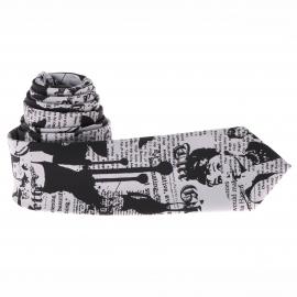 Cravate slim Grise et Noire avec impressions