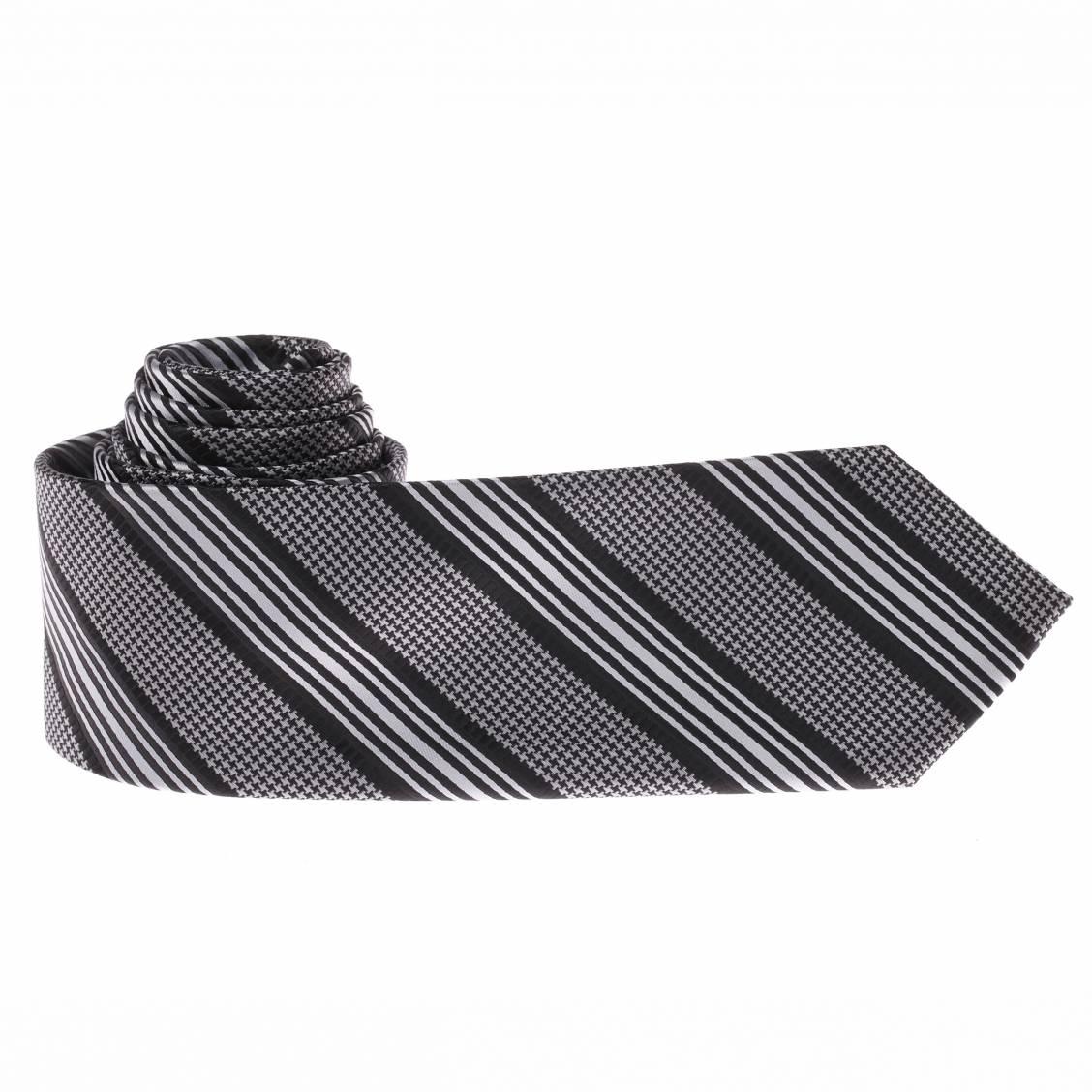 Cravate noire rayures et motifs pied de poule gris rue des hommes - Cravate noire homme ...