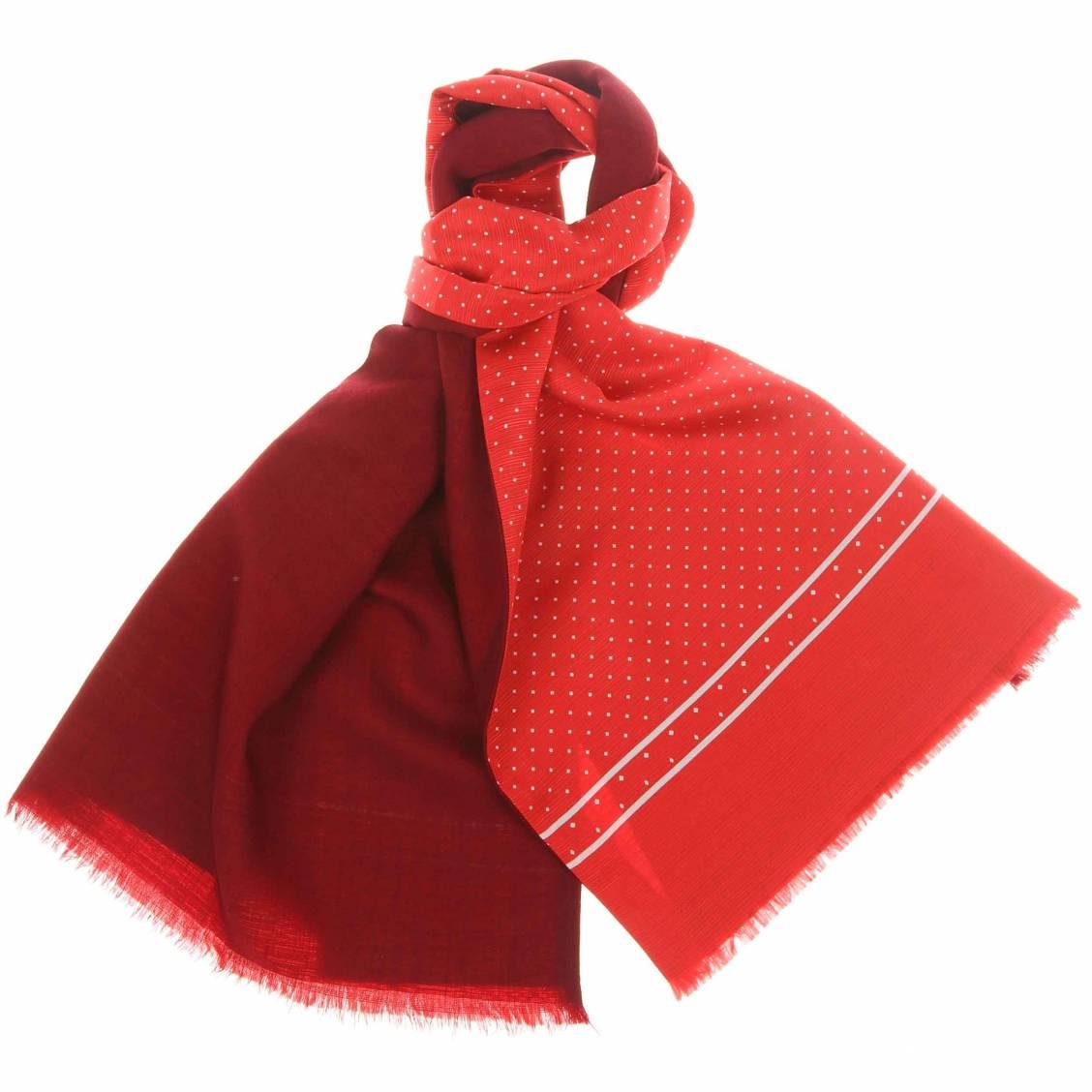 echarpe en laine et soie rouge pois blancs rue des hommes. Black Bedroom Furniture Sets. Home Design Ideas