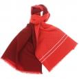 Echarpe en laine et soie Rouge, à pois blancs